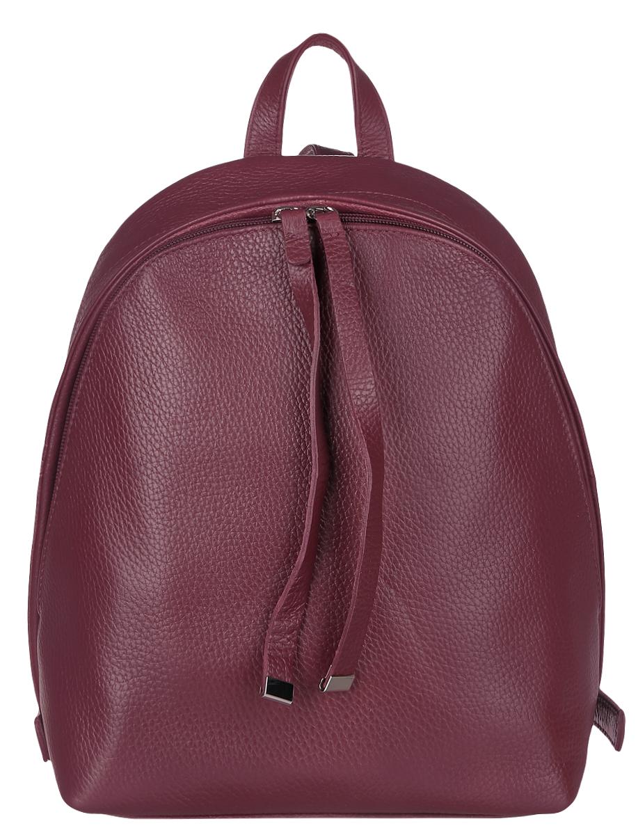 Рюкзак женский Afina, цвет: бордовый. 237237Стильный женский рюкзак Afina выполнен из натуральной кожи зернистой фактуры. Изделие содержит отделение, закрывающееся с помощью металлической застежки-молнии. Внутри расположены: два накладных кармана для мелочей и два кармана на молнии. Рюкзак оснащен удобными лямками регулируемой длины, а также петлей для подвешивания. Такой модный рюкзак займет достойное место в вашем гардеробе.