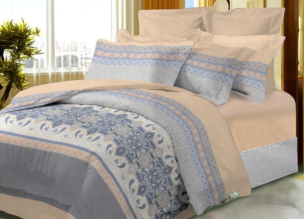 Комплект белья Primavera Classic Мотивы, семейный, наволочки 70х70, цвет: светло-бежевый, голубой88798