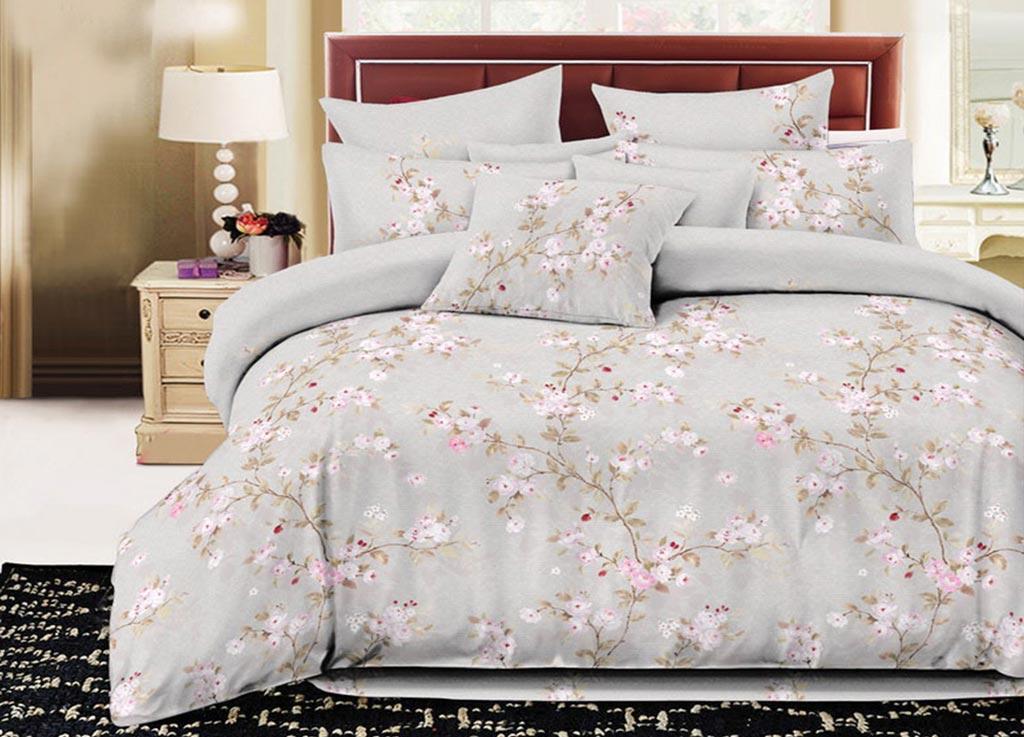 Комплект белья Primavera Classic Ветка сакуры, семейный, наволочки 70х70, цвет: серый88803