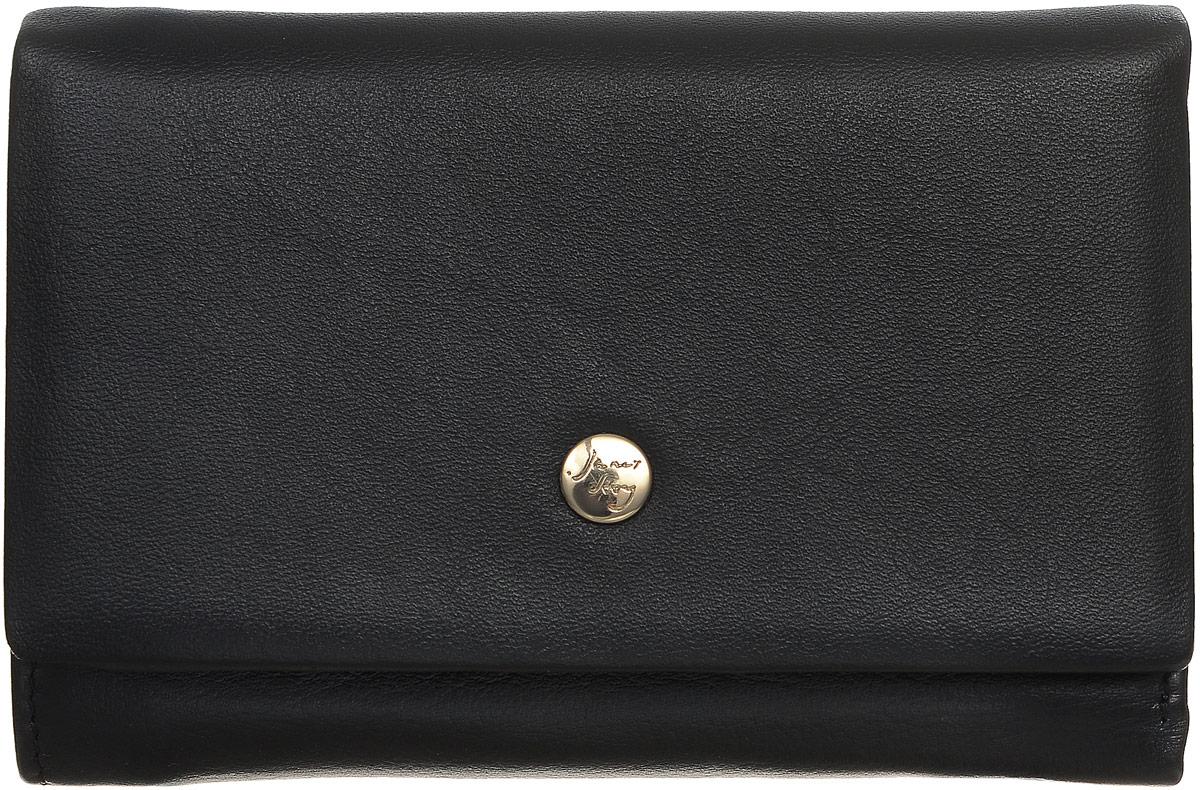 Кошелек женский Janes Story, цвет: черный. VN-80034-04VN-80034-04Стильный женский кошелек Janes Story изготовлен из натуральной высококачественной кожи. Изделие выполнено в три сложения и закрывается клапаном на кнопку. Внутри кошелек содержит два отделения для купюр, один карман на застежке-молнии, три потайных кармашка, шесть карманов для кредитных карт или визиток и один кармашек с окошечком в которое можно вставить любимое фото. Снаружи сзади так же имеется карман на молнии. Кошелек - это удобный и функциональный аксессуар, необходимый любому активному человеку для хранения денежных купюр, визиток, пластиковых карт и небольших документов. Он не только практичен в использовании, но также позволит вам подчеркнуть свою индивидуальность. Кошелек упакован в фирменную картонную коробку с логотипом бренда.