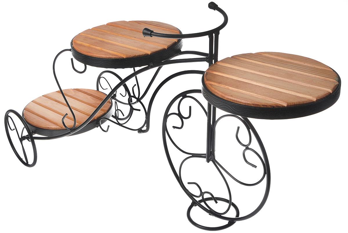 Подставка для цветов Фабрика ковки, на 3 цветка, цвет: черный, коричневый. 59-44359-443Оригинальная подставка Фабрика ковки предназначена для размещения трех цветков, два размещается на верхнем уровне, один на нижнем. Каркас изготовлен из металла, на котором располагаются полки из дерева. Роль ножек исполняют изогнутые прутки, которые сплетаются в форму, повторяющую форму велосипеда, обеспечивая устойчивое расположение цветков. Такая подставка станет прекрасным дизайнерским решением для украшения дома. Размер подставки: 85 х 31 х 43 см. Диаметр полок: 24 см.