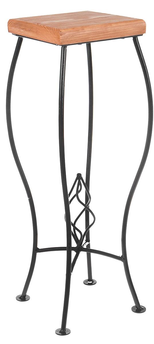 Подставка для цветов Фабрика ковки, цвет: черный, коричневый. 59-94459-944Подставка Фабрика ковки станет прекрасным украшением любого интерьера. Изделие выполнено из металлических прутьев и дерева. Плавные изгибы подставки придают ей неповторимую форму, а продуманная конструкция будет гарантировать хорошую устойчивость. Подставка предназначена для установки одного цветка. Высота подставки: 57 см. Размер основания: 20 х 19 см. Размер полки: 18 х 18 см.