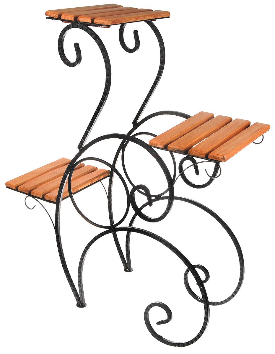 Подставка для цветов Фабрика ковки, на 3 цветка, цвет: черный, коричневый. 59-71359-713Подставка Фабрика ковки предназначена для размещения трех цветочных кашпо. Она выполнена из металлического прутка черного цвета и дерева. Горшки при этом размещаются на разных уровнях, что позволяет создавать удивительные цветочные композиции. Роль ножек исполняют изогнутые стальные прутки, которые обеспечивают устойчивое расположение цветков. Размер подставки: 65 х 25,5 х 78 см. Размер полок: 25 х 19 см.