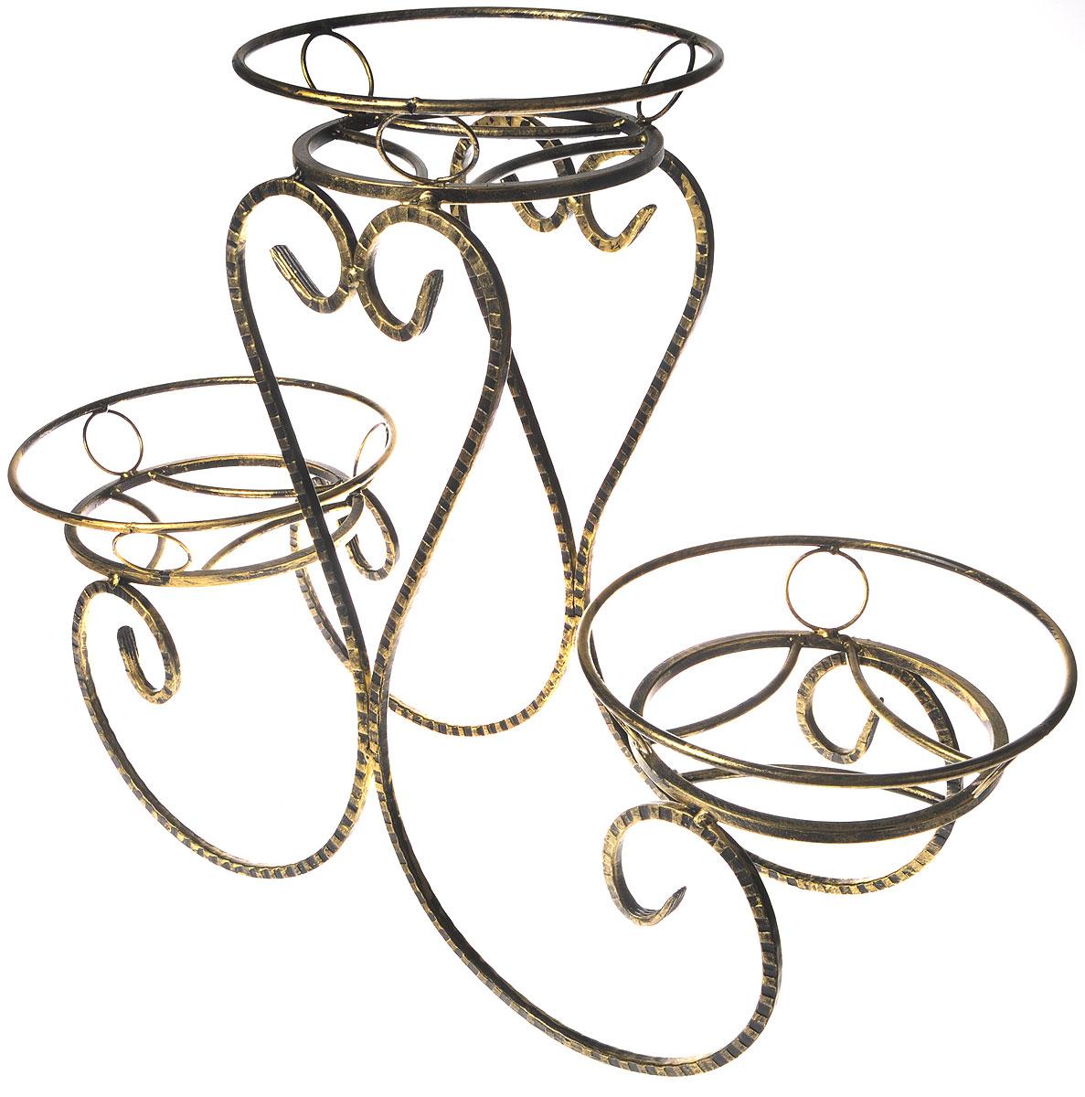 Подставка для цветов Фабрика ковки Классика, на 3 цветка, цвет: черный, золотистый. 70-04370-043Подставка Фабрика ковки Классика предназначена для размещения трех цветочных кашпо, одно размещается на верхнем уровне, два на нижнем. Подставка выполнена из резного окрашенного металла. Ножки выполнены в виде завитков, на которых расположены подставки, декорированные кольцами. Симметричность подставки не только обеспечивает высокую надежность установки цветков, но и придает ей строгий и презентабельный вид. Размер подставки: 80 х 29 х 60 см. Диаметр полок (по верхнему краю): 29 см.