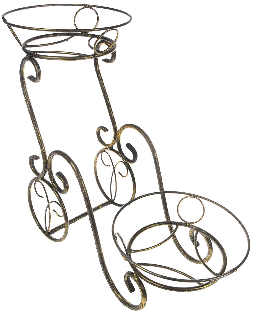 Подставка для цветов Фабрика ковки Лоза, на 2 цветка, цвет: черный, золотистый. 14-042-В14-042-ВПодставка Фабрика ковки Лоза предназначена для размещения двух цветочных кашпо, одно размещается на верхнем уровне, второе на нижнем. Подставка выполнена из резного окрашенного металла. Ножки выполнены в виде завитков, на которых расположены подставки, декорированные кольцами. Симметричность подставки не только обеспечивает высокую надежность установки цветков, но и придает ей строгий и презентабельный вид. Размер подставки: 48 х 24 х 46 см. Диаметр полок (по верхнему краю): 24 см.