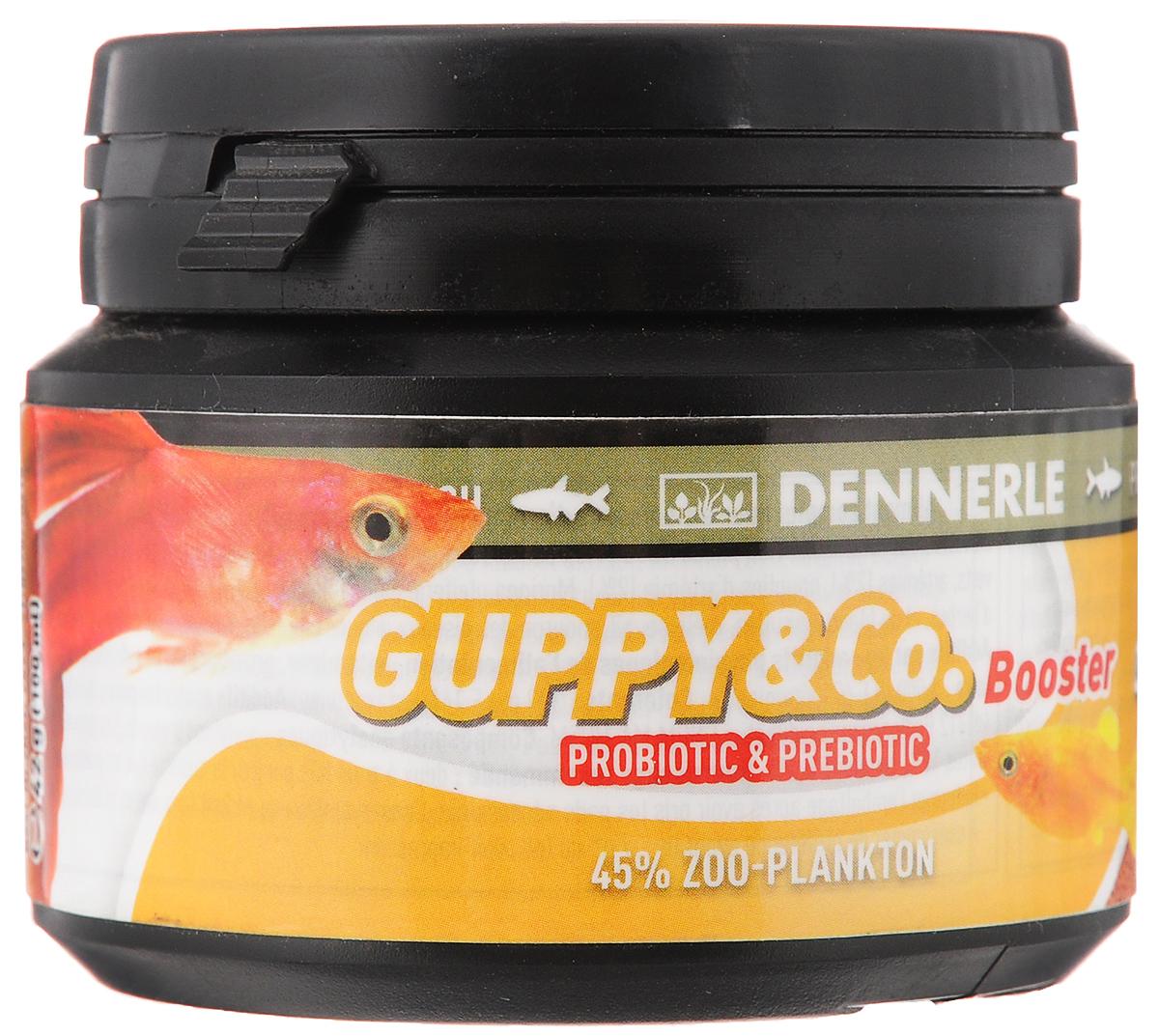 Корм Dennerle Guppy & Co Booster, для живородящих рыб, 42 гDEN7523Знаете ли Вы, что 1/3 всех аквариумных рыб, продаваемых в Германии, относится к живородящим? Специальный корм Dennerle Guppy & Co Booster, разработанный с учетом потребностей гуппи, меченосцев и молли. Высокая доля натуральных красителей усиливает яркость окраски рыб. Бета-глюкан вместе с пре- и пробиотиками повышает иммунитет рыб, что обеспечивает живородящим рыбкам надежную защиту от различных бактериальных инфекций. Рекомендация по кормлению: Ежедневно 2-3 раза больше, чем рыбы едят в течение 1 минуты. Arctic криль (31%), пшеничный белок, кальмар, омега-3 жир морских Bachflohkrebse (4%), дафнии (4%), кузнечики, личинки насекомых, коралловое водорослей, экстракт дрожжей, зеленые мидии, артемии (2%), Артемия науплии ( 2%), Моринга масличная, цикорий инулин, шпинат, мотыль, Nannochloropsis водоросли, травяной экстракт, капуста, спирулина, мелисса, чеснок, песчанка, хлорелла, фенхель, анис, пыльца, виноградных косточек,...