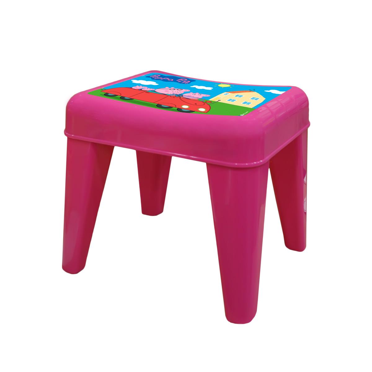 Табурет детский Little Angel Свинка Пеппа. Я расту, цвет: розовыйLA4522РРРЗМебель «Я расту» – это сбывшаяся мечта! Функциональная, яркая, безопасная и очень привлекательная мебель эксклюзивного дизайна. Уникальный декор мебели включает обучающие элементы - с ними малыш легко выучит английский алфавит, цифры а также научится определять время. Преимущества: эксклюзивные декоры с любимыми героями; закругленные углы для безопасности малыша; противоскользящие накладки для безопасного использования на любой поверхности; особо прочная конструкция ножек для надежной и безопасной эксплуатации; выдерживает статическую нагрузку до 100 кг. для стола и до 180 кг. для стула и табурета.