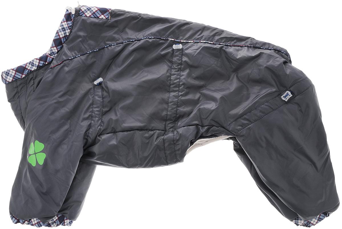 Комбинезон для собак Dogmoda Doggs, зимний, для мальчика, цвет: серый. Размер XLDM-140538_серыйКомбинезон для собак Dogmoda Doggs отлично подойдет для прогулок в зимнее время года. Комбинезон изготовлен из полиэстера, защищающего от ветра и снега, с утеплителем из синтепона, который сохранит тепло даже в сильные морозы, а на подкладке используется искусственный мех, который обеспечивает отличный воздухообмен. Комбинезон застегивается на молнию и липучку, благодаря чему его легко надевать и снимать. Молния снабжена светоотражающими элементами. Низ рукавов и брючин оснащен внутренними резинками, которые мягко обхватывают лапки, не позволяя просачиваться холодному воздуху. На вороте, пояснице и лапках комбинезон затягивается на шнурок-кулиску с затяжкой. Модель снабжена непромокаемым карманом для размещения записки с информацией о вашем питомце, на случай если он потеряется. Благодаря такому комбинезону простуда не грозит вашему питомцу и он не даст любимцу продрогнуть на прогулке.