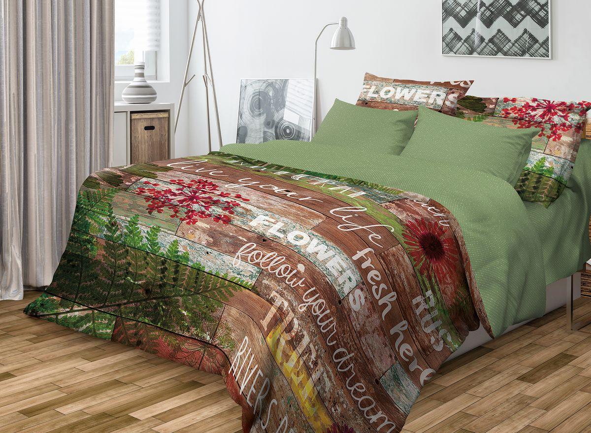 Комплект белья Волшебная ночь Natural, 1,5-спальный, наволочки 50x70, цвет: зеленый, коричневый701959Роскошный комплект постельного белья Волшебная ночь Natural выполнен из натурального ранфорса (100% хлопка) и украшен оригинальным рисунком. Комплект состоит из пододеяльника, простыни и двух наволочек. Ранфорс - это новая современная гипоаллергенная ткань из натуральных хлопковых волокон, которая прекрасно впитывает влагу, очень проста в уходе, а за счет высокой прочности способна выдерживать большое количество стирок. Высочайшее качество материала гарантирует безопасность. Доверьте заботу о качестве вашего сна высококачественному натуральному материалу.