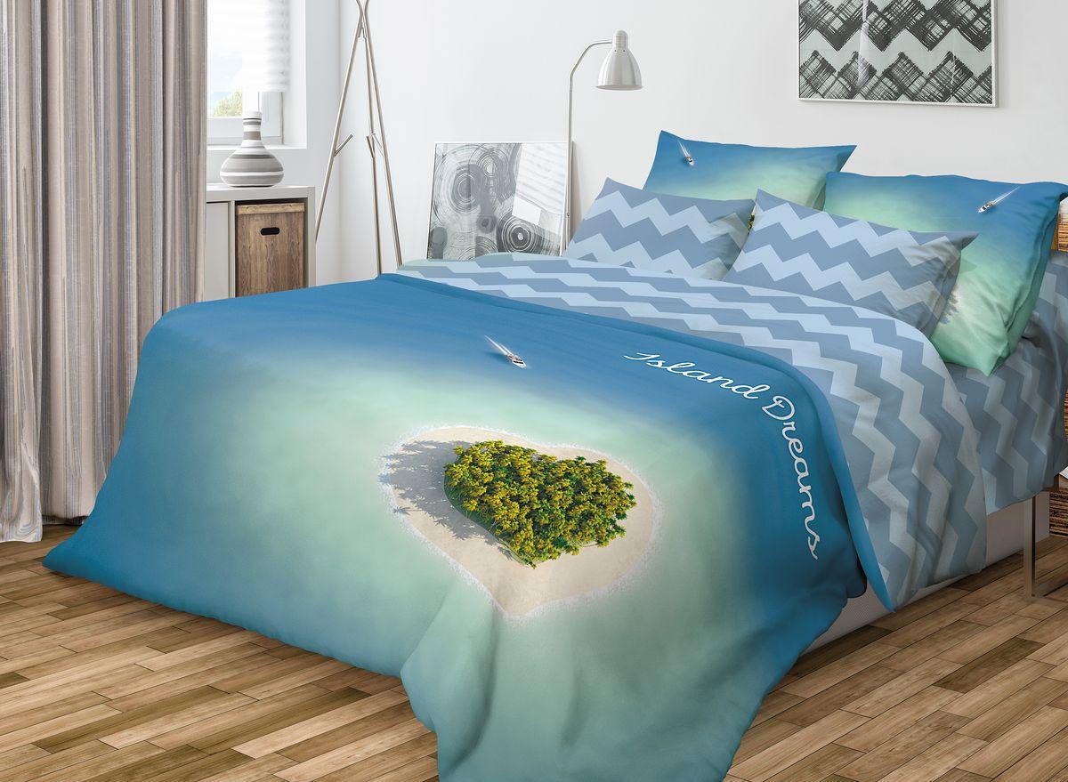 Комплект белья Волшебная ночь Island Dreams, 1,5-спальный, наволочки 70x70, цвет: синий701988Роскошный комплект постельного белья Волшебная ночь Island Dreams выполнен из натурального ранфорса (100% хлопка) и украшен оригинальным рисунком. Комплект состоит из пододеяльника, простыни и двух наволочек. Ранфорс - это новая современная гипоаллергенная ткань из натуральных хлопковых волокон, которая прекрасно впитывает влагу, очень проста в уходе, а за счет высокой прочности способна выдерживать большое количество стирок. Высочайшее качество материала гарантирует безопасность. Доверьте заботу о качестве вашего сна высококачественному натуральному материалу.