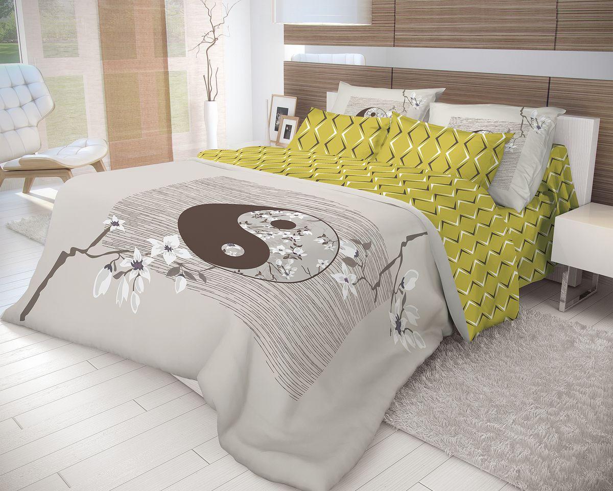 Комплект белья Волшебная ночь Yin Yang, 2-спальный, наволочки 70x70, цвет: серый, оливковый702270Роскошный комплект постельного белья Волшебная ночь Yin Yang выполнен из натурального ранфорса (100% хлопка) и украшен оригинальным рисунком. Комплект состоит из пододеяльника, простыни и двух наволочек. Ранфорс - это новая современная гипоаллергенная ткань из натуральных хлопковых волокон, которая прекрасно впитывает влагу, очень проста в уходе, а за счет высокой прочности способна выдерживать большое количество стирок. Высочайшее качество материала гарантирует безопасность. Доверьте заботу о качестве вашего сна высококачественному натуральному материалу.