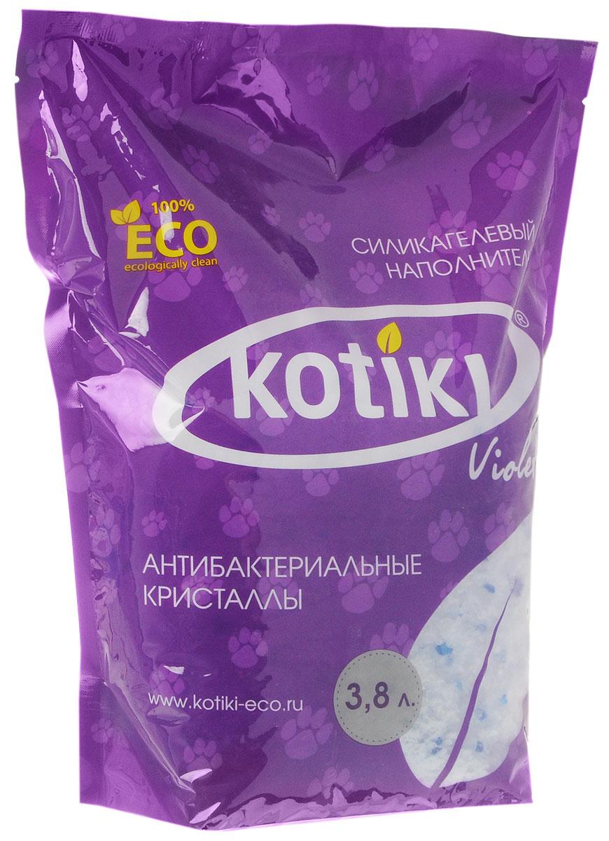 """Наполнитель для кошачьего туалета Kotiki """"Violet. Антибактериальные кристаллы"""", силикагелевый, 3,8 л 00000000008"""