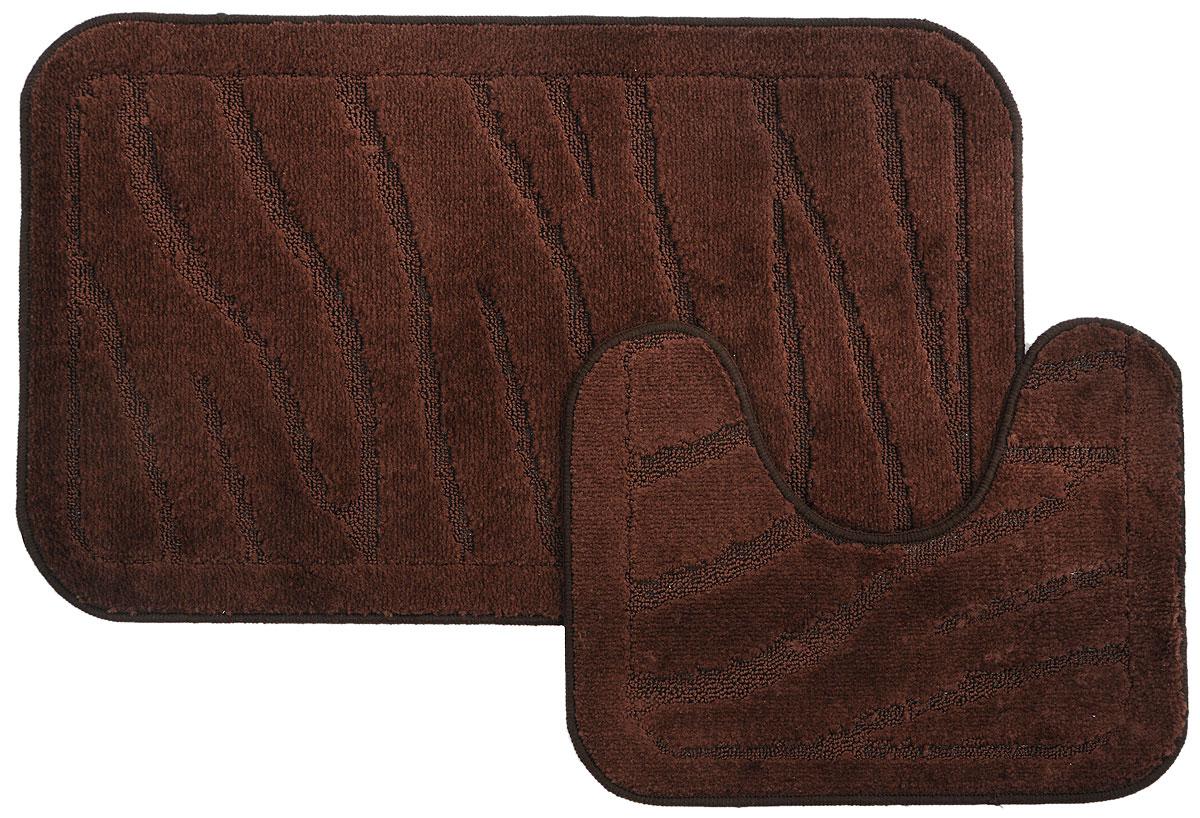 Набор ковриков для ванной MAC Carpet Рома. Линии, цвет: коричневый, 50 х 80 см, 50 х 40 см, 2 шт11542Набор MAC Carpet Рома. Линии, выполненный из полипропилена, состоит из двух ковриков для ванной комнаты, один из которых имеет вырез под унитаз. Противоскользящее основание изготовлено из термопластичной резины. Коврики мягкие и приятные на ощупь, отлично впитывают влагу и быстро сохнут. Высокая износостойкость ковриков и стойкость цвета позволит вам наслаждаться покупкой долгие годы. Можно стирать вручную или в стиральной машине на деликатном режиме при температуре 30°С.