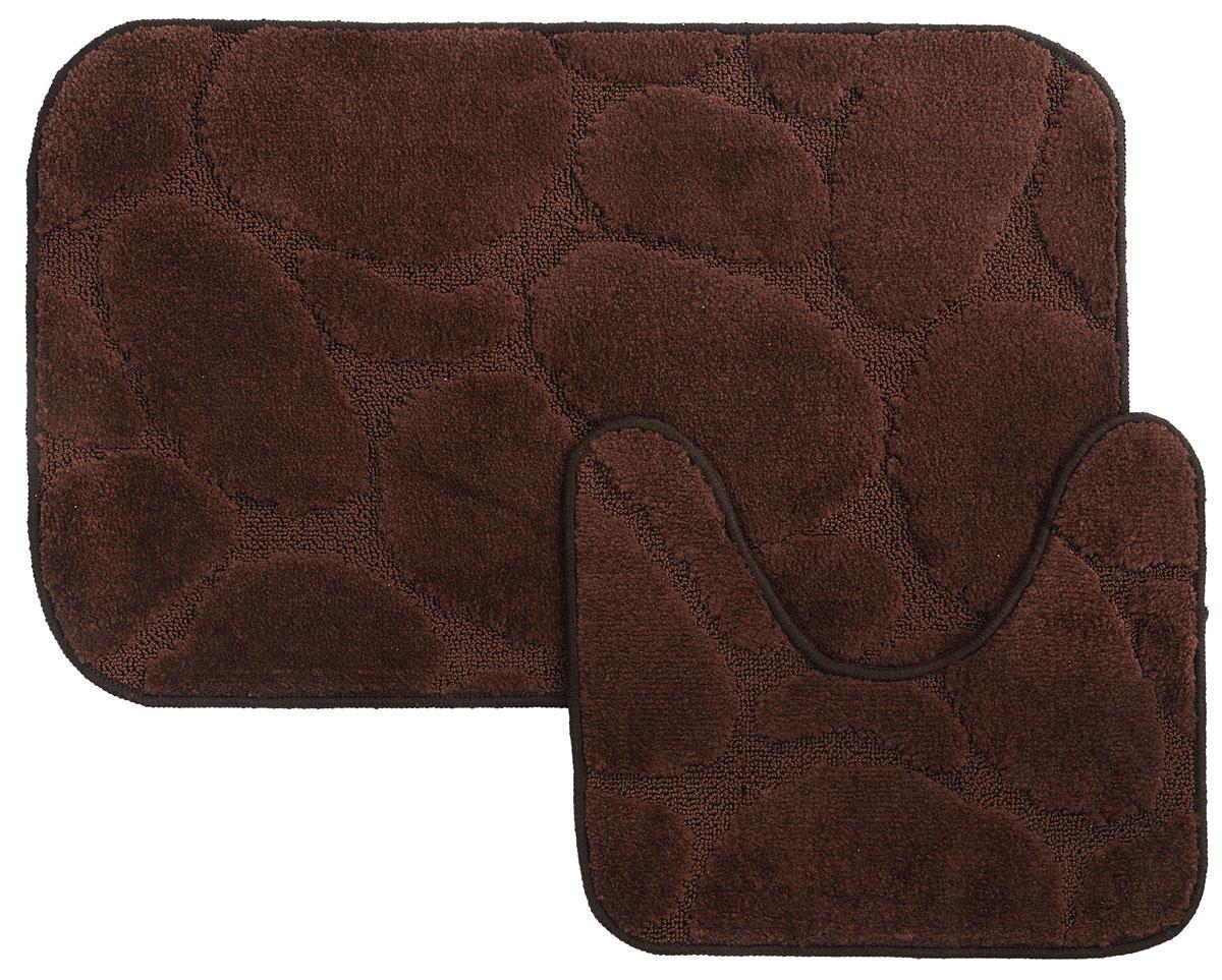 Набор ковриков для ванной MAC Carpet Рома. Камни, цвет: темно-коричневый, 50 х 80 см, 50 х 40 см, 2 шт11544Набор MAC Carpet Рома. Камни, выполненный из полипропилена, состоит из двух ковриков для ванной комнаты, один из которых имеет вырез под унитаз. Противоскользящее основание изготовлено из термопластичной резины. Коврики мягкие и приятные на ощупь, отлично впитывают влагу и быстро сохнут. Высокая износостойкость ковриков и стойкость цвета позволит вам наслаждаться покупкой долгие годы. Можно стирать вручную или в стиральной машине на деликатном режиме при температуре 30°С.