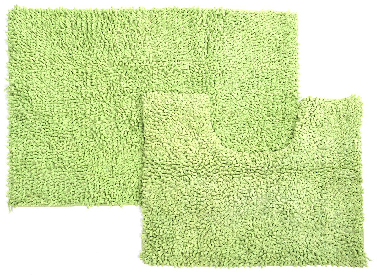 Набор ковриков для ванной Shee Sai International, цвет: салатовый, 60 х 90 см, 60 х 50 см, 2 шт15343/зелНабор Shee Sai International, выполненный из 100% хлопка, состоит из двух ковриков для ванной комнаты, один из которых имеет вырез под унитаз. Коврики мягкие и приятные на ощупь, отлично впитывают влагу и быстро сохнут. Высокая износостойкость ковриков и стойкость цвета позволит вам наслаждаться покупкой долгие годы. Можно стирать вручную.