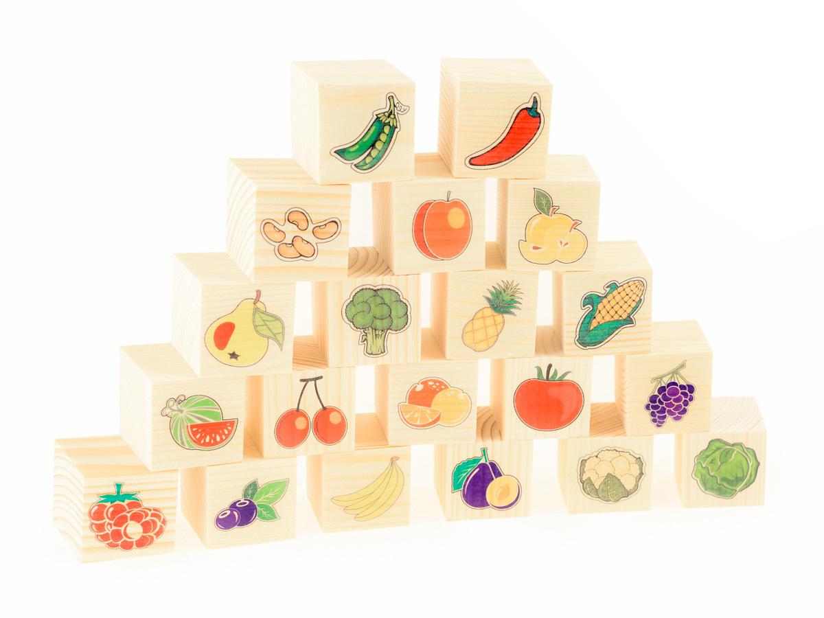 Развивающие деревянные игрушки Кубики Овощи фруктыД155bКубики из натурального дерева - любимая игрушка каждого ребенка. Кубики обожают дети. Игру с кубиками в детстве с удовольствием и теплом вспоминают взрослые. Для изготовления кубиков используется только натуральное отечественное дерево мягких пород с минимальной обработкой, что позволило максимально сохранить ощущение фактуры дерева и его аромата. Яркие, контрастные и понятные ребенку иллюстрации нанесены экологичными красками. Кубики ОВОЩИ-ФРУКТЫ не только познакомят ребенка с овощами, фркутами и ягодами, но и станут прекрасным строительным материалом для создания зданий, сооружений, фигур и воплощения фантазий юного строителя. ВНИМАНИЕ! Детали игрушки выполнены из натурального дерева (деревоматериала) без покрытия лаками или другими химическими составами. Перед использованием удалите остатки древесины и древесную пыль, тщательно протерев детали игрушки мягкой тканью!