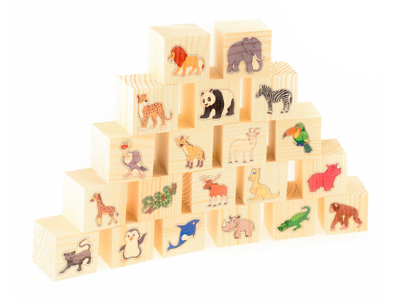 Развивающие деревянные игрушки Кубики В зоопарке