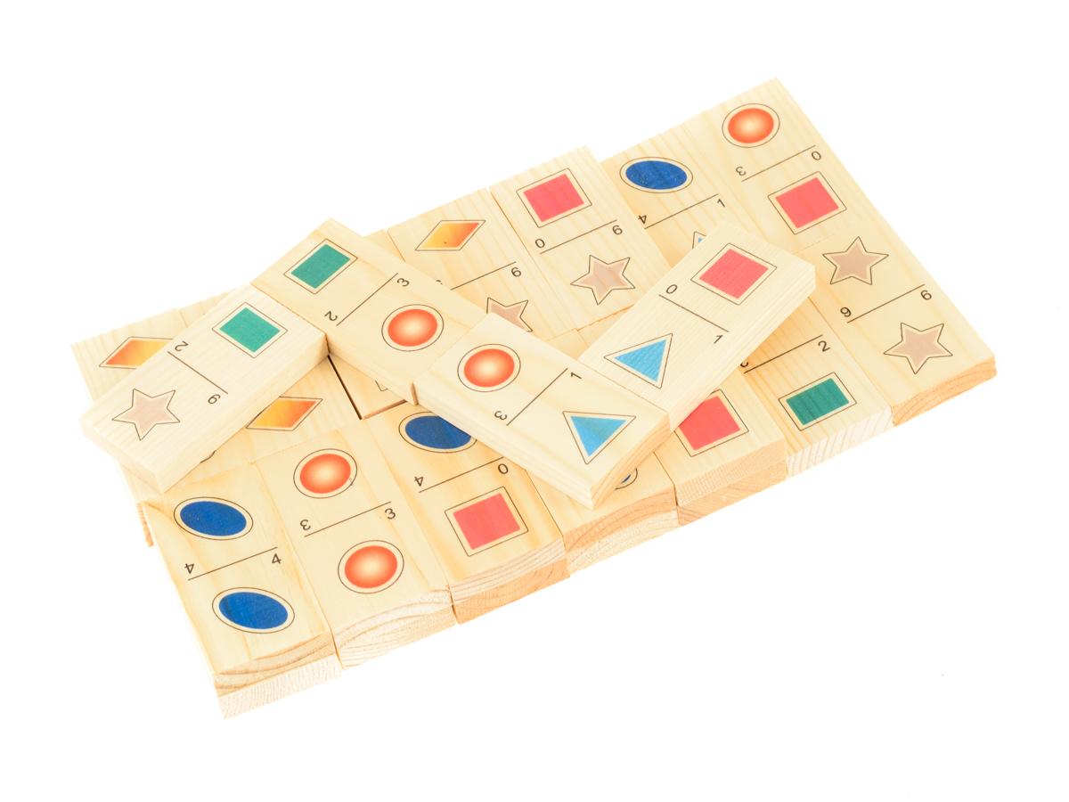 Развивающие деревянные игрушки Домино Формы и цвета Д416а