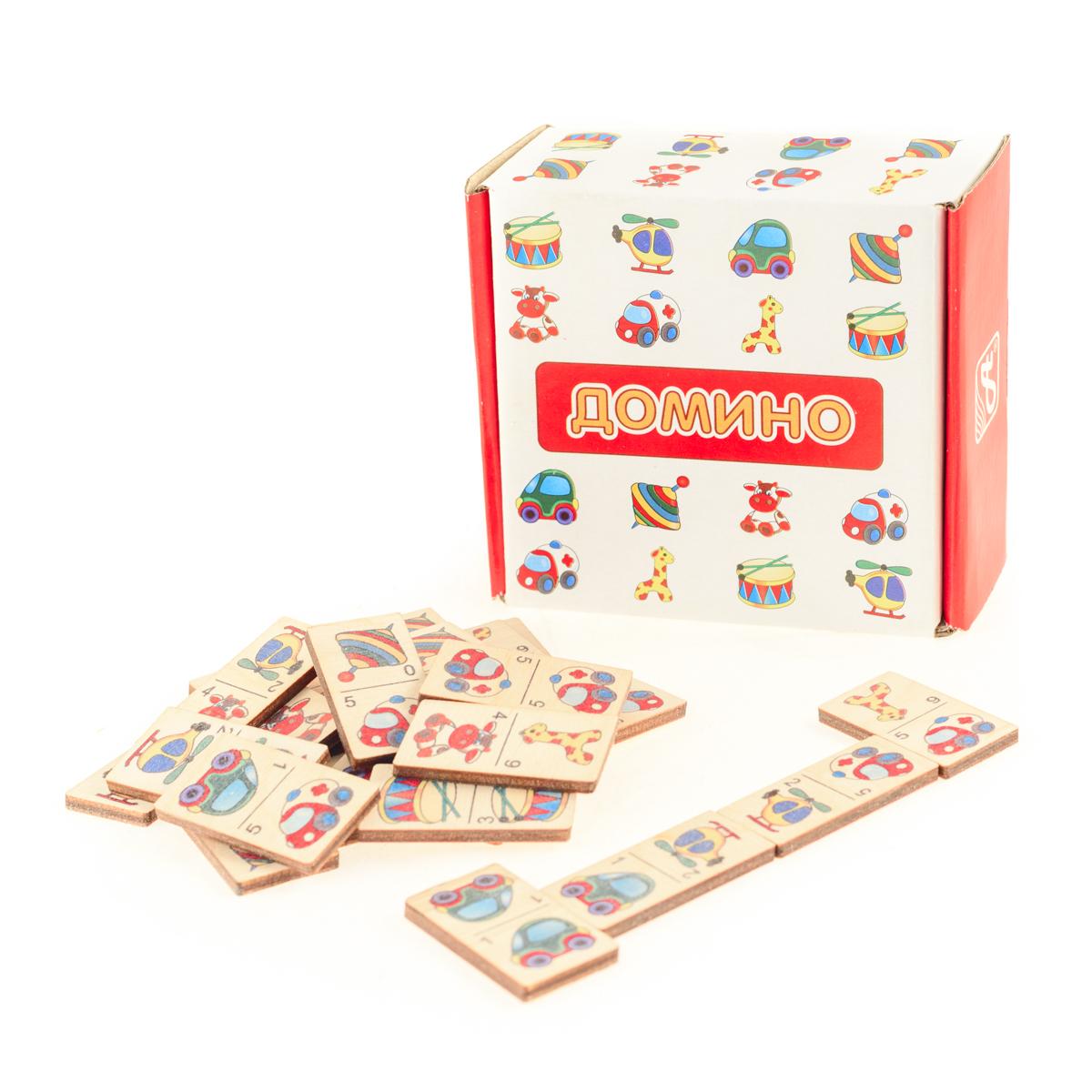 Развивающие деревянные игрушки Домино ИгрушкиД430аДомино для детей — игрушка, необходимая каждому ребёнку. Играя, малыш развивает целый спектр навыков: моторику, логику, воображение, а также изучает окружающий мир, счёт, арифметику и цвета. Рисунки на каждой фишке — яркие и понятные. В домино можно играть не только дома, но и эффективно использовать для занятий в детском саду. ВНИМАНИЕ! Детали игрушки выполнены из натурального дерева (деревоматериала) без покрытия лаками или другими химическими составами. Перед использованием удалите остатки древесины и древесную пыль, тщательно протерев детали игрушки мягкой тканью!