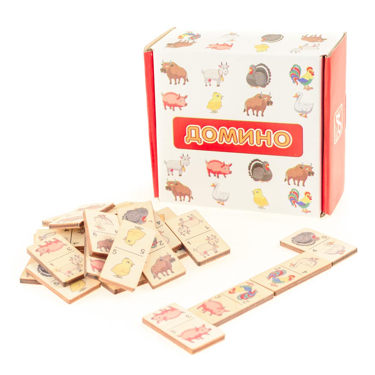 Развивающие деревянные игрушки Домино ФермаД431аДомино для детей — игрушка, необходимая каждому ребёнку. Играя, малыш развивает целый спектр навыков: моторику, логику, воображение, а также изучает окружающий мир, счёт, арифметику и цвета. Рисунки на каждой фишке — яркие и понятные. В домино можно играть не только дома, но и эффективно использовать для занятий в детском саду. ВНИМАНИЕ! Детали игрушки выполнены из натурального дерева (деревоматериала) без покрытия лаками или другими химическими составами. Перед использованием удалите остатки древесины и древесную пыль, тщательно протерев детали игрушки мягкой тканью!