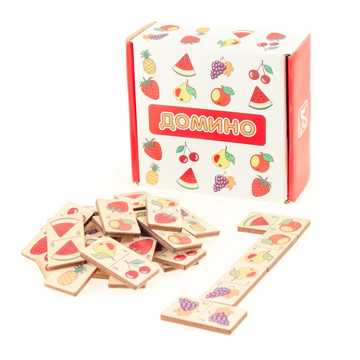 Развивающие деревянные игрушки Домино ФруктыД434аДомино для детей — игрушка, необходимая каждому ребёнку. Играя, малыш развивает целый спектр навыков: моторику, логику, воображение, а также изучает окружающий мир, счёт, арифметику и цвета. Рисунки на каждой фишке — яркие и понятные. В домино можно играть не только дома, но и эффективно использовать для занятий в детском саду. ВНИМАНИЕ! Детали игрушки выполнены из натурального дерева (деревоматериала) без покрытия лаками или другими химическими составами. Перед использованием удалите остатки древесины и древесную пыль, тщательно протерев детали игрушки мягкой тканью!