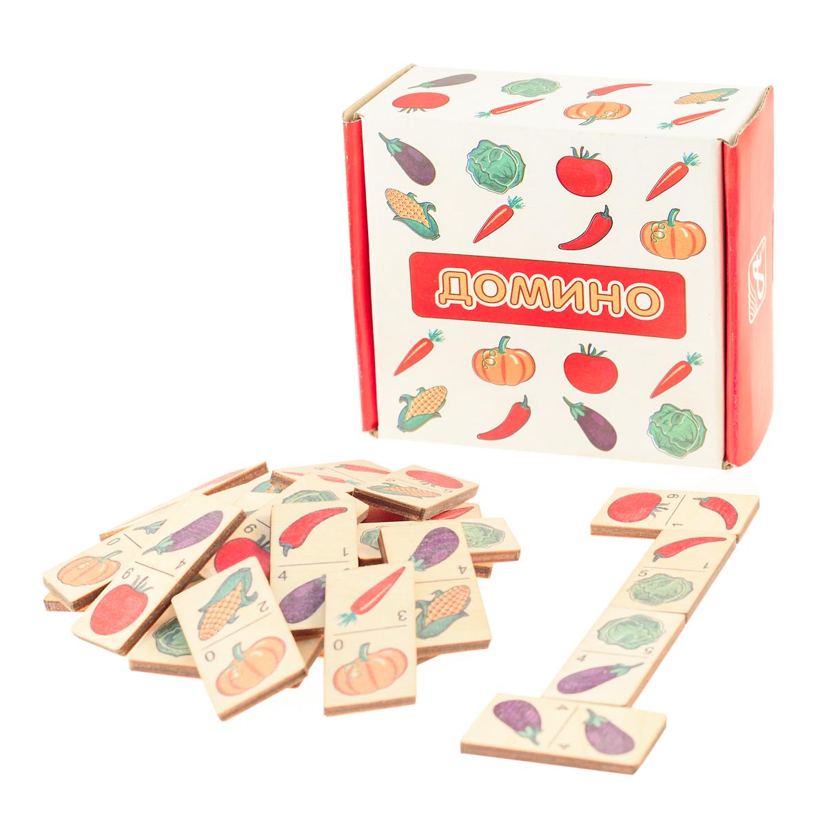 Развивающие деревянные игрушки Домино ОвощиД435аДомино для детей — игрушка, необходимая каждому ребёнку. Играя, малыш развивает целый спектр навыков: моторику, логику, воображение, а также изучает окружающий мир, счёт, арифметику и цвета. Рисунки на каждой фишке — яркие и понятные. В домино можно играть не только дома, но и эффективно использовать для занятий в детском саду. ВНИМАНИЕ! Детали игрушки выполнены из натурального дерева (деревоматериала) без покрытия лаками или другими химическими составами. Перед использованием удалите остатки древесины и древесную пыль, тщательно протерев детали игрушки мягкой тканью!