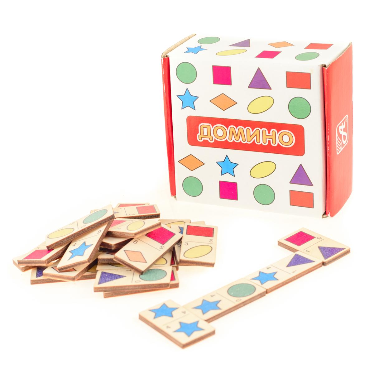 Развивающие деревянные игрушки Домино Формы и цветаД436аДомино для детей — игрушка, необходимая каждому ребёнку. Играя, малыш развивает целый спектр навыков: моторику, логику, воображение, а также изучает окружающий мир, счёт, арифметику и цвета. Рисунки на каждой фишке — яркие и понятные. В домино можно играть не только дома, но и эффективно использовать для занятий в детском саду. ВНИМАНИЕ! Детали игрушки выполнены из натурального дерева (деревоматериала) без покрытия лаками или другими химическими составами. Перед использованием удалите остатки древесины и древесную пыль, тщательно протерев детали игрушки мягкой тканью!