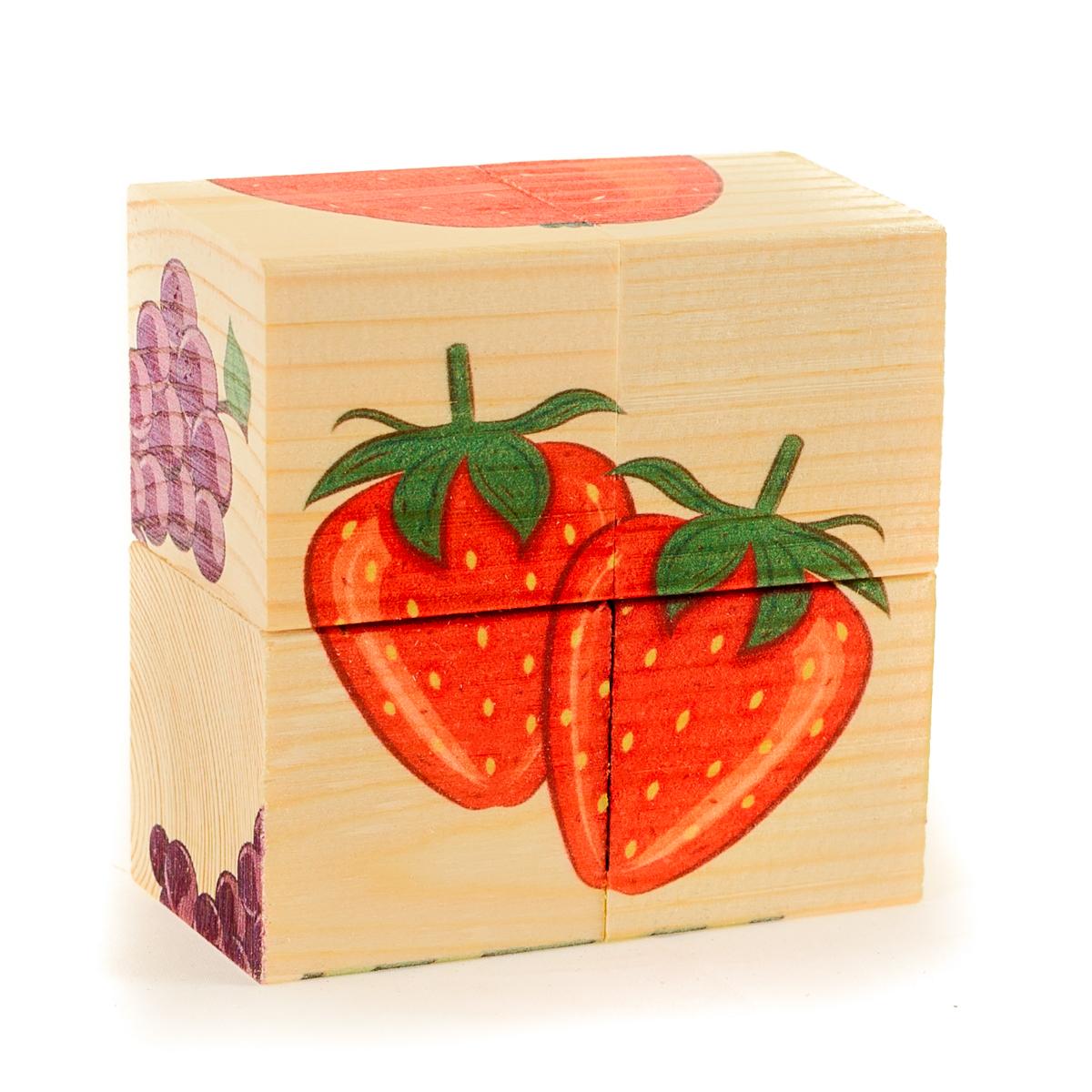 Развивающие деревянные игрушки Кубики ФруктыД479аКубики из натурального дерева - любимая игрушка каждого ребенка. Кубики обожают дети. Игру с кубиками в детстве с удовольствием и теплом вспоминают взрослые. Для кубиков серии Развивающие деревянные игрушки используется только натуральное отечественное дерево мягких пород с минимальной обработкой, что позволило максимально сохранить ощущение фактуры дерева и его аромата. Яркие, контрастные и понятные ребенку иллюстрации нанесены экологичными красками. Кубики из дерева - не только прекрасный строительный материал для вполощения детских фантазий, но и удобное пособие для развития зрительной памяти, логики и мелкой моторики у детей. Объясните ребенку, что на каждой грани кубика нанесена часть картинки, а если 4 картинки собрать вместе, получится изображение. Покажите ему пример. С помощью набора Собери рисунок. Кубики-пазл. ФРУКТЫ можно собрать 6 разных изображений фруктов и ягод. ВНИМАНИЕ! Детали игрушки выполнены из натурального дерева (деревоматериала) без покрытия лаками или...