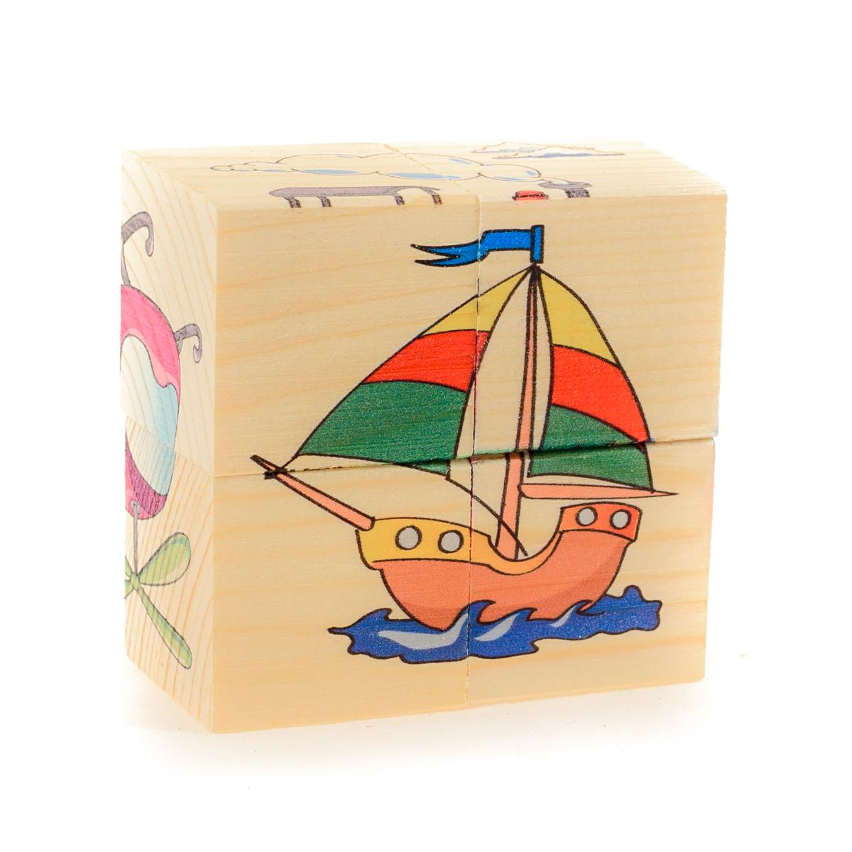 Развивающие деревянные игрушки Кубики Транспорт Д483аД483аКубики из натурального дерева - любимая игрушка каждого ребенка. Кубики обожают дети. Игру с кубиками в детстве с удовольствием и теплом вспоминают взрослые. Для кубиков серии Развивающие деревянные игрушки используется только натуральное отечественное дерево мягких пород с минимальной обработкой, что позволило максимально сохранить ощущение фактуры дерева и его аромата. Яркие, контрастные и понятные ребенку иллюстрации нанесены экологичными красками. Кубики из дерева - не только прекрасный строительный материал для вполощения детских фантазий, но и удобное пособие для развития зрительной памяти, логики и мелкой моторики у детей. Объясните ребенку, что на каждой грани кубика нанесена часть картинки, а если 4 картинки собрать вместе, получится изображение. Покажите ему пример. С помощью набора Собери рисунок. Кубики-пазл. ТРАНСПОРТ можно собрать 6 разных изображений наземного, водного и воздушного транспорта. ВНИМАНИЕ! Детали игрушки выполнены из натурального дерева...