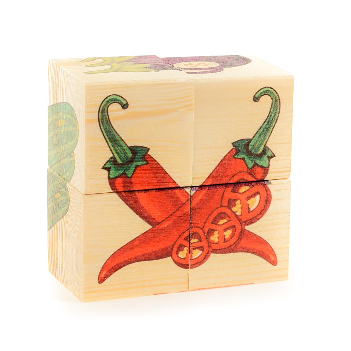 Развивающие деревянные игрушки Кубики ОвощиД484аКубики из натурального дерева - любимая игрушка каждого ребенка. Кубики обожают дети. Игру с кубиками в детстве с удовольствием и теплом вспоминают взрослые. Для кубиков серии Развивающие деревянные игрушки используется только натуральное отечественное дерево мягких пород с минимальной обработкой, что позволило максимально сохранить ощущение фактуры дерева и его аромата. Яркие, контрастные и понятные ребенку иллюстрации нанесены экологичными красками. Кубики из дерева - не только прекрасный строительный материал для вполощения детских фантазий, но и удобное пособие для развития зрительной памяти, логики и мелкой моторики у детей. Объясните ребенку, что на каждой грани кубика нанесена часть картинки, а если 4 картинки собрать вместе, получится изображение. Покажите ему пример. С помощью набора Собери рисунок. Кубики-пазл. ОВОЩИ можно собрать 6 разных изображений овощей. ВНИМАНИЕ! Детали игрушки выполнены из натурального дерева (деревоматериала) без покрытия лаками или другими...