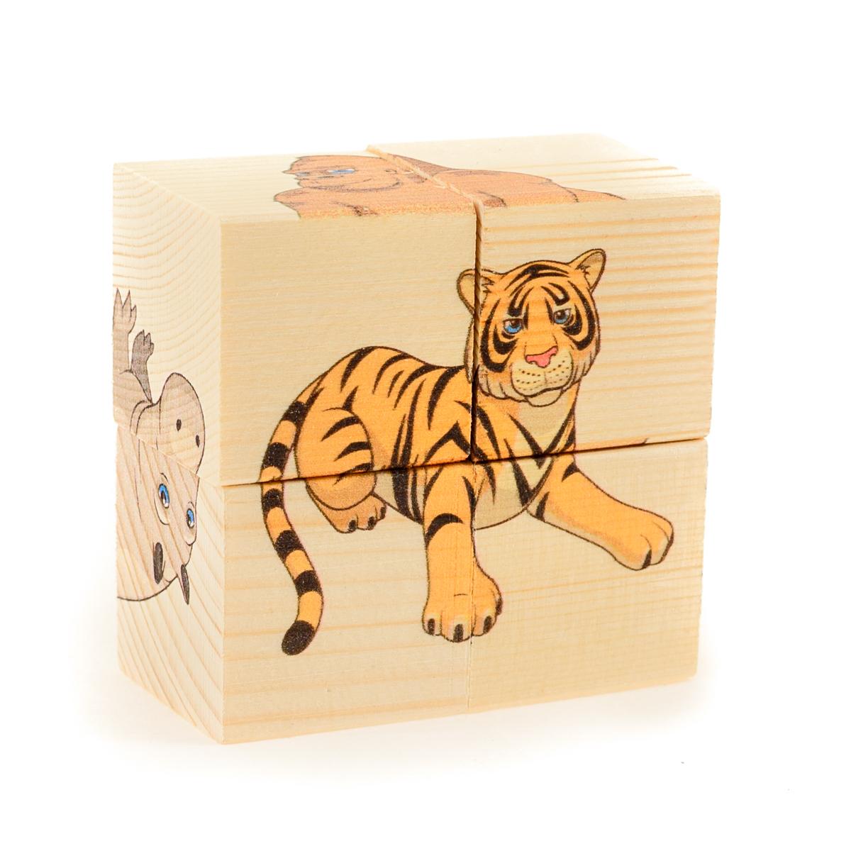 Развивающие деревянные игрушки Кубики Дикие животныеД485аКубики из натурального дерева - любимая игрушка каждого ребенка. Кубики обожают дети. Игру с кубиками в детстве с удовольствием и теплом вспоминают взрослые. Для кубиков серии Развивающие деревянные игрушки используется только натуральное отечественное дерево мягких пород с минимальной обработкой, что позволило максимально сохранить ощущение фактуры дерева и его аромата. Яркие, контрастные и понятные ребенку иллюстрации нанесены экологичными красками. Кубики из дерева - не только прекрасный строительный материал для вполощения детских фантазий, но и удобное пособие для развития зрительной памяти, логики и мелкой моторики у детей. Объясните ребенку, что на каждой грани кубика нанесена часть картинки, а если 4 картинки собрать вместе, получится изображение. Покажите ему пример. С помощью набора Собери рисунок. Кубики-пазл. ДИКИЕ ЖИВОТНЫЕ можно собрать 6 разных изображений диких животных. ВНИМАНИЕ! Детали игрушки выполнены из натурального дерева (деревоматериала) без покрытия...