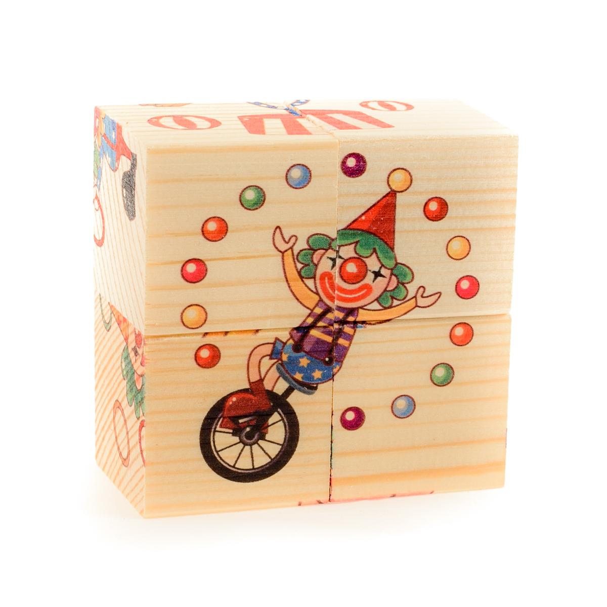 Развивающие деревянные игрушки Кубики ЦиркД486аКубики из натурального дерева - любимая игрушка каждого ребенка. Кубики обожают дети. Игру с кубиками в детстве с удовольствием и теплом вспоминают взрослые. Для кубиков серии Развивающие деревянные игрушки используется только натуральное отечественное дерево мягких пород с минимальной обработкой, что позволило максимально сохранить ощущение фактуры дерева и его аромата. Яркие, контрастные и понятные ребенку иллюстрации нанесены экологичными красками. Кубики из дерева - не только прекрасный строительный материал для вполощения детских фантазий, но и удобное пособие для развития зрительной памяти, логики и мелкой моторики у детей. Объясните ребенку, что на каждой грани кубика нанесена часть картинки, а если 4 картинки собрать вместе, получится изображение. Покажите ему пример. С помощью набора Собери рисунок. Кубики-пазл. ЦИРК можно собрать 6 разных изображений клоунов, цирковых животных и веселых цирковых трюков. ВНИМАНИЕ! Детали игрушки выполнены из натурального дерева...