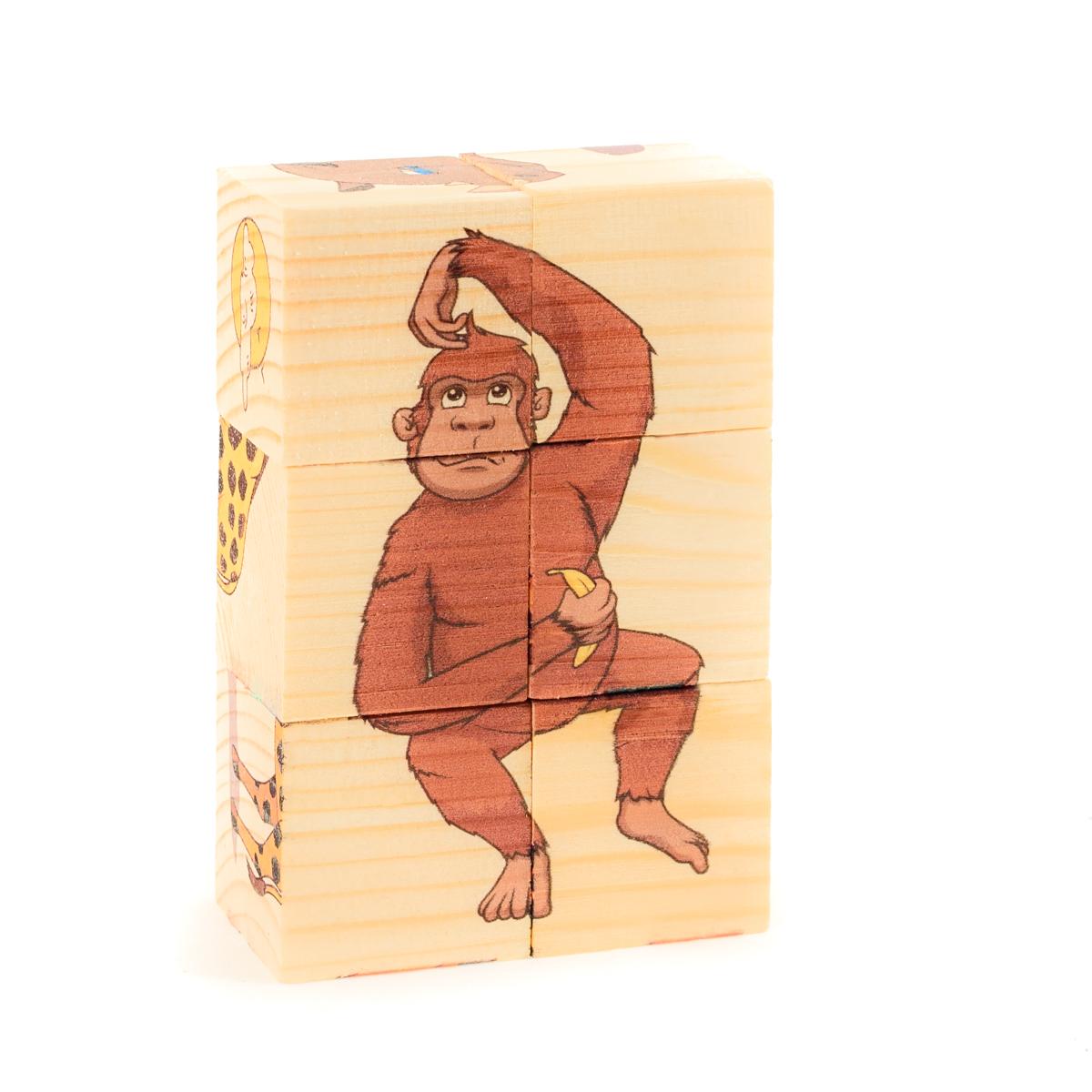 Развивающие деревянные игрушки Кубики ЖивотныеД487аКубики из натурального дерева - любимая игрушка каждого ребенка. Кубики обожают дети. Игру с кубиками в детстве с удовольствием и теплом вспоминают взрослые. Для кубиков серии Развивающие деревянные игрушки используется только натуральное отечественное дерево мягких пород с минимальной обработкой, что позволило максимально сохранить ощущение фактуры дерева и его аромата. Яркие, контрастные и понятные ребенку иллюстрации нанесены экологичными красками. Кубики из дерева - не только прекрасный строительный материал для вполощения детских фантазий, но и удобное пособие для развития зрительной памяти, логики и мелкой моторики у детей. Объясните ребенку, что на каждой грани кубика нанесена часть картинки, а если 4 картинки собрать вместе, получится изображение. Покажите ему пример. С помощью набора Собери рисунок. Кубики-пазл. ДИКИЕ ЖИВОТНЫЕ можно собрать 6 разных изображений диких животных. ВНИМАНИЕ! Детали игрушки выполнены из натурального дерева (деревоматериала) без покрытия...