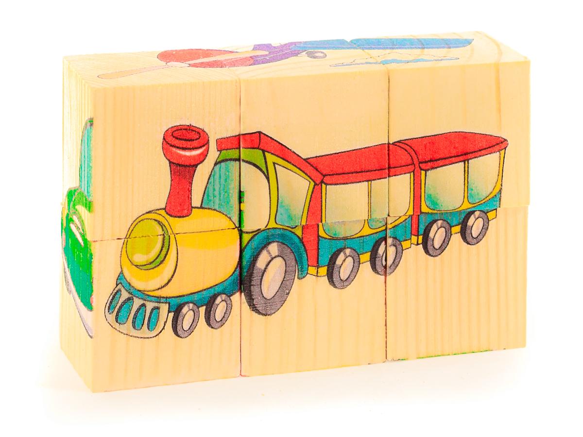 Развивающие деревянные игрушки Кубики ТранспортД488аКубики из натурального дерева - любимая игрушка каждого ребенка. Кубики обожают дети. Игру с кубиками в детстве с удовольствием и теплом вспоминают взрослые. Для кубиков серии Развивающие деревянные игрушки используется только натуральное отечественное дерево мягких пород с минимальной обработкой, что позволило максимально сохранить ощущение фактуры дерева и его аромата. Яркие, контрастные и понятные ребенку иллюстрации нанесены экологичными красками. Кубики из дерева - не только прекрасный строительный материал для вполощения детских фантазий, но и удобное пособие для развития зрительной памяти, логики и мелкой моторики у детей. Объясните ребенку, что на каждой грани кубика нанесена часть картинки, а если 4 картинки собрать вместе, получится изображение. Покажите ему пример. С помощью набора Собери рисунок. Кубики-пазл. ТРАНСПОРТ можно собрать 6 разных изображений наземного, водного и воздушного транспорта. ВНИМАНИЕ! Детали игрушки выполнены из натурального дерева...