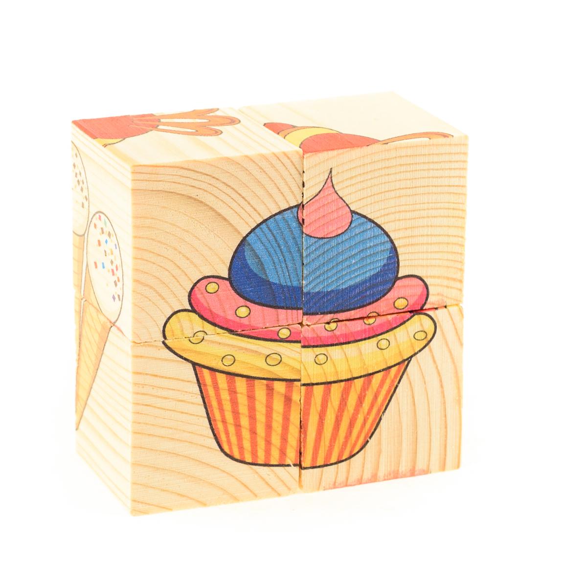 Развивающие деревянные игрушки Кубики СладостиД492аКубики из натурального дерева - любимая игрушка каждого ребенка. Кубики обожают дети. Игру с кубиками в детстве с удовольствием и теплом вспоминают взрослые. Для кубиков серии Развивающие деревянные игрушки используется только натуральное отечественное дерево мягких пород с минимальной обработкой, что позволило максимально сохранить ощущение фактуры дерева и его аромата. Яркие, контрастные и понятные ребенку иллюстрации нанесены экологичными красками. Кубики из дерева - не только прекрасный строительный материал для вполощения детских фантазий, но и удобное пособие для развития зрительной памяти, логики и мелкой моторики у детей. Объясните ребенку, что на каждой грани кубика нанесена часть картинки, а если 4 картинки собрать вместе, получится изображение. Покажите ему пример. С помощью набора Собери рисунок. Кубики-пазл. СЛАДОСТИ можно собрать 6 разных изображений сладких лакомств. ВНИМАНИЕ! Детали игрушки выполнены из натурального дерева (деревоматериала) без покрытия лаками...