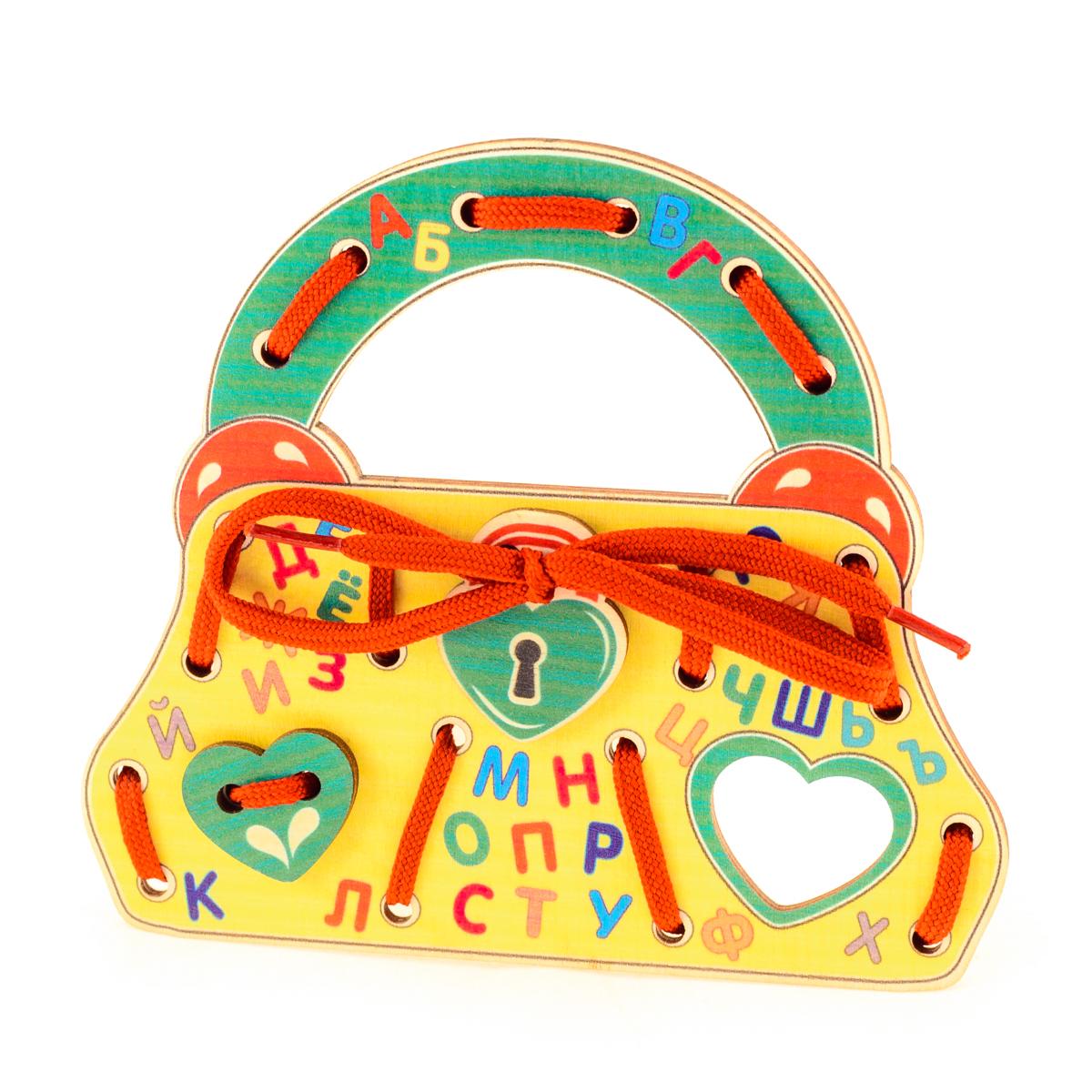 Развивающие деревянные игрушки Шнуровка Сумочка АлфавитД494аШнуровка из качественных деревоматериалов - прекрасная игрушка для развития ребенка. Шнуровка-сумочка из обработатнной фанеры непременно станет любимой игрушкой маленькой красавицы. Шнуровка СУМОЧКА АЛФАВИТ не только послужит незаменимым пособием для развития моторики ребенка, но и познакомит его с азбукой и поможет быстрее выучить буквы русского алфавита. Насыщенные цвета и разнообразные формы будут стимулировать детское воображение и фантазию, развивать внимание, цветовое восприятие, моторику и координацию. ВНИМАНИЕ! Детали игрушки выполнены из натурального дерева (деревоматериала) без покрытия лаками или другими химическими составами. Перед использованием удалите остатки древесины и древесную пыль, тщательно протерев детали игрушки мягкой тканью!