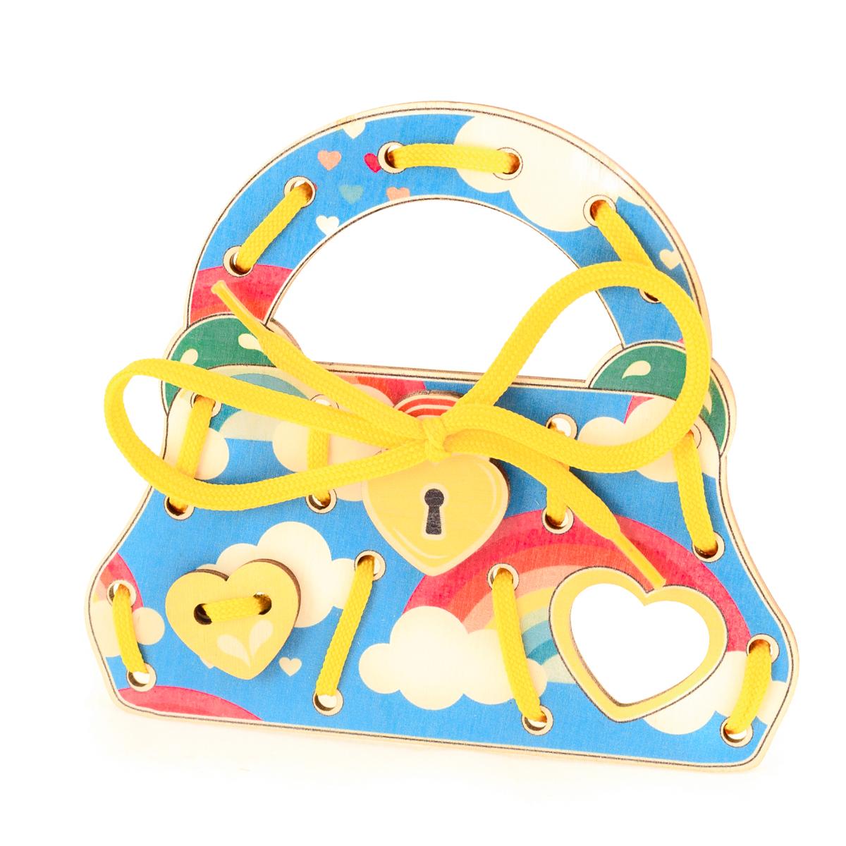Развивающие деревянные игрушки Шнуровка Сумочка Радуга в небеД499аШнуровка из качественных деревоматериалов - прекрасная игрушка для развития ребенка. Шнуровка СУМОЧКА РАДУГА В НЕБЕ из обработатнной фанеры непременно станет любимой игрушкой маленькой красавицы и послужит незаменимым пособием для развития моторики ребенка. Насыщенные цвета и разнообразные формы будут стимулировать детское воображение и фантазию, развивать внимание, цветовое восприятие, моторику и координацию. ВНИМАНИЕ! Детали игрушки выполнены из натурального дерева (деревоматериала) без покрытия лаками или другими химическими составами. Перед использованием удалите остатки древесины и древесную пыль, тщательно протерев детали игрушки мягкой тканью!