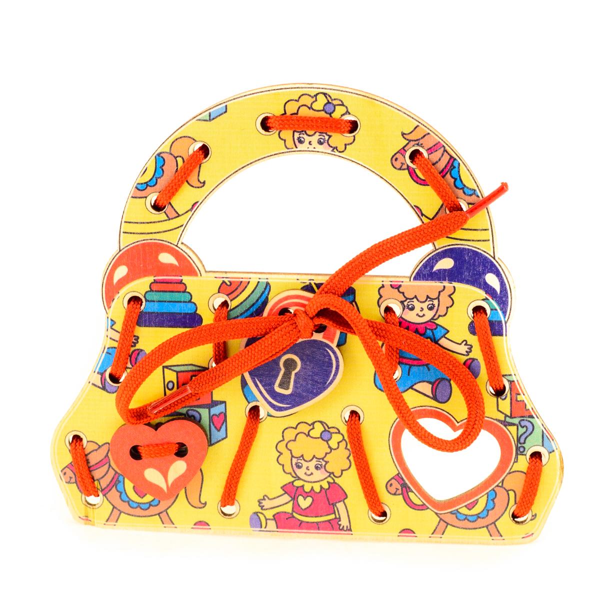 Развивающие деревянные игрушки Шнуровка Сумочка ИгрушкиД501аШнуровка из качественных деревоматериалов - прекрасная игрушка для развития ребенка. Шнуровка-сумочка из обработатнной фанеры непременно станет любимой игрушкой маленькой красавицы. Шнуровка СУМОЧКА ИГРУШКИ не только послужит незаменимым пособием для развития моторики ребенка, но и поможет ему в развитии ассоциативного мышления. Насыщенные цвета и разнообразные формы будут стимулировать детское воображение и фантазию, развивать внимание, цветовое восприятие, моторику и координацию. ВНИМАНИЕ! Детали игрушки выполнены из натурального дерева (деревоматериала) без покрытия лаками или другими химическими составами. Перед использованием удалите остатки древесины и древесную пыль, тщательно протерев детали игрушки мягкой тканью!