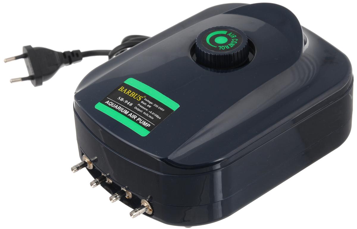 Компрессор воздушный Barbus SB-948, с регулятором, 4 канала, 3,5 л/мин, 8 ВтSB-948Воздушный компрессор Barbus SB-948 изготовлен из высококачественных материалов. Новейшая система сжатия воздуха, многоуровневая демпфирующая система для снижения шума и вибрации. Изделие оснащено регулятором скорости потока воздуха. Мощность:8 Вт. Напряжение: 220-240В. Частота: 50/60 Гц. Производительность: 4 х 3,5 л/мин. Рекомендуемый объем аквариума: 4 х 50 - 250 л.