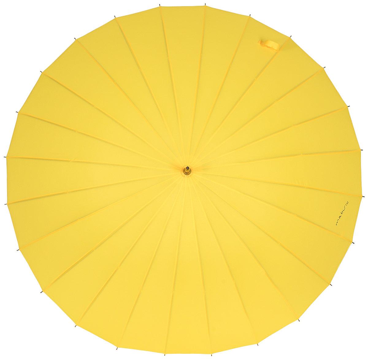 Зонт женский Kawaii Factory Mabu, цвет: желтый. KW042-000033KW042-000033Элегантный зонт от Kawaii Factory Mabu даже в ненастную погоду позволит вам оставаться стильной и элегантной. Зонт состоит из стержня и 24 спиц, изготовленных из металла. Купол изготовлен из полиэстера, который надежно защитит вас от дождя. Зонт дополнен удобной ручкой, которая выполнена в виде крючка. Также зонт имеет пластиковый наконечник, который устраняет попадание воды на стержень и уберегает зонт от повреждений. Изделие имеет механический механизм сложения. Зонт закрывается хлястиком на кнопку.