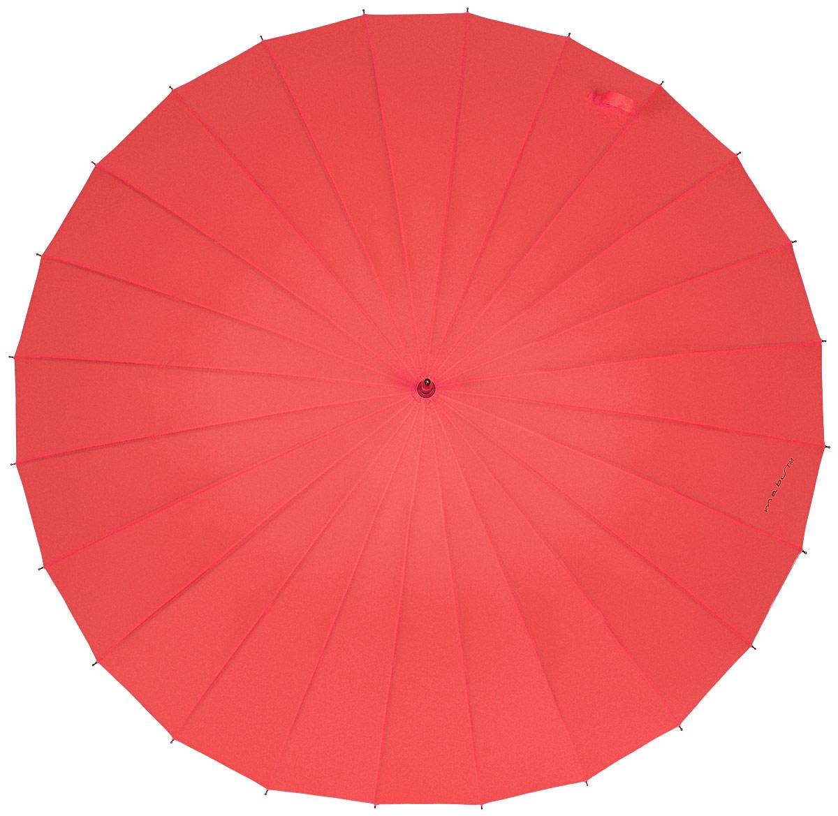 Зонт женский Kawaii Factory Mabu, цвет: красный. KW042-000032KW042-000032Элегантный зонт от Kawaii Factory Mabu даже в ненастную погоду позволит вам оставаться стильной и элегантной. Зонт состоит из стержня и 24 спиц, изготовленных из металла. Купол изготовлен из полиэстера, который надежно защитит вас от дождя. Зонт дополнен удобной ручкой, которая выполнена в виде крючка. Также зонт имеет пластиковый наконечник, который устраняет попадание воды на стержень и уберегает зонт от повреждений. Изделие имеет механический механизм сложения. Зонт закрывается хлястиком на кнопку.