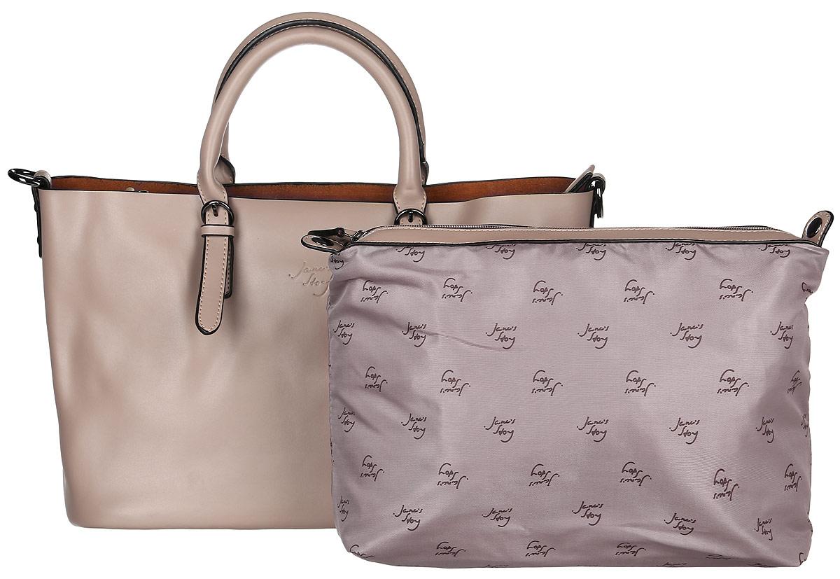 Сумка женская Janes Story, цвет: бежевый. JK-201-78JK-201-78Стильная женская сумка Janes Story изготовлена из натуральной кожи. Изделие имеет одно отделение. Внутри расположен карман на молнии. Модель дополнена большим съемным карманом, который пристегивается к сумке при помощи кнопок, внутри кармана расположены два накладных кармана и один прорезной на молнии. Закрывается изделие на застежку-молнию. Сумка оснащена двумя удобными ручками. Модель предназначена для ношения на руке, но так же имеется дополнительный съемный наплечный ремень. Изделие украшено надписью с названием бренда. Роскошная сумка внесет элегантные нотки в ваш образ и подчеркнет ваше отменное чувство стиля.