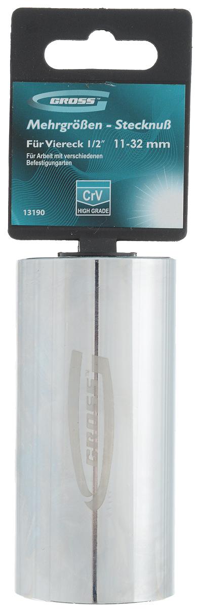 Головка торцевая Gross, многоразмерная, 11-32 мм13190Торцевая головка торговой марки Gross предназначена для проведения крепежных работ болтовых соединений различной формы размером от 11 до 32 мм. Для использования головки необходим переходник с квадратом 1/2 дюйма. Изготовлена головка из высококачественной хромованадиевой стали (CrV) и твердостью 48 HRC. Для защиты от ржавчины головка покрыта хромом и отполирована. Порадуйте себя удобным и прочным инструментом. Длина головки: 88 мм. Толщина: 43 мм.