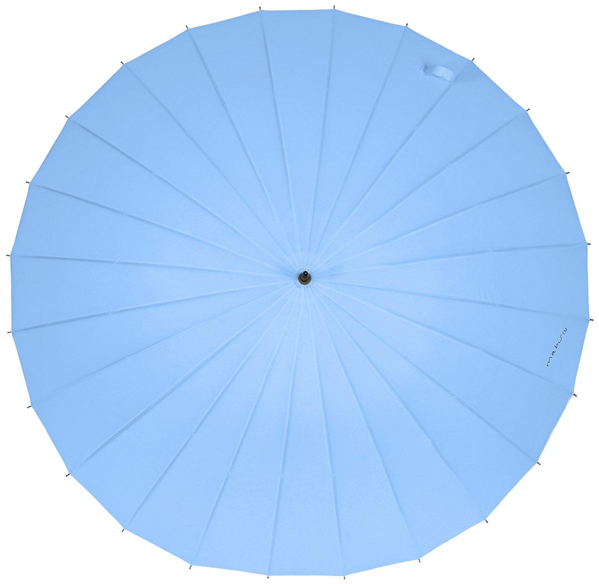 Зонт женский Kawaii Factory Mabu, цвет: синий. KW042-000044KW042-000044Элегантный зонт от Kawaii Factory Mabu даже в ненастную погоду позволит вам оставаться стильной и элегантной. Зонт состоит из стержня и 24 спиц, изготовленных из металла. Купол изготовлен из полиэстера, который надежно защитит вас от дождя. Зонт дополнен удобной ручкой, которая выполнена в виде крючка. Также зонт имеет пластиковый наконечник, который устраняет попадание воды на стержень и уберегает зонт от повреждений. Изделие имеет механический механизм сложения. Зонт закрывается хлястиком на кнопку.