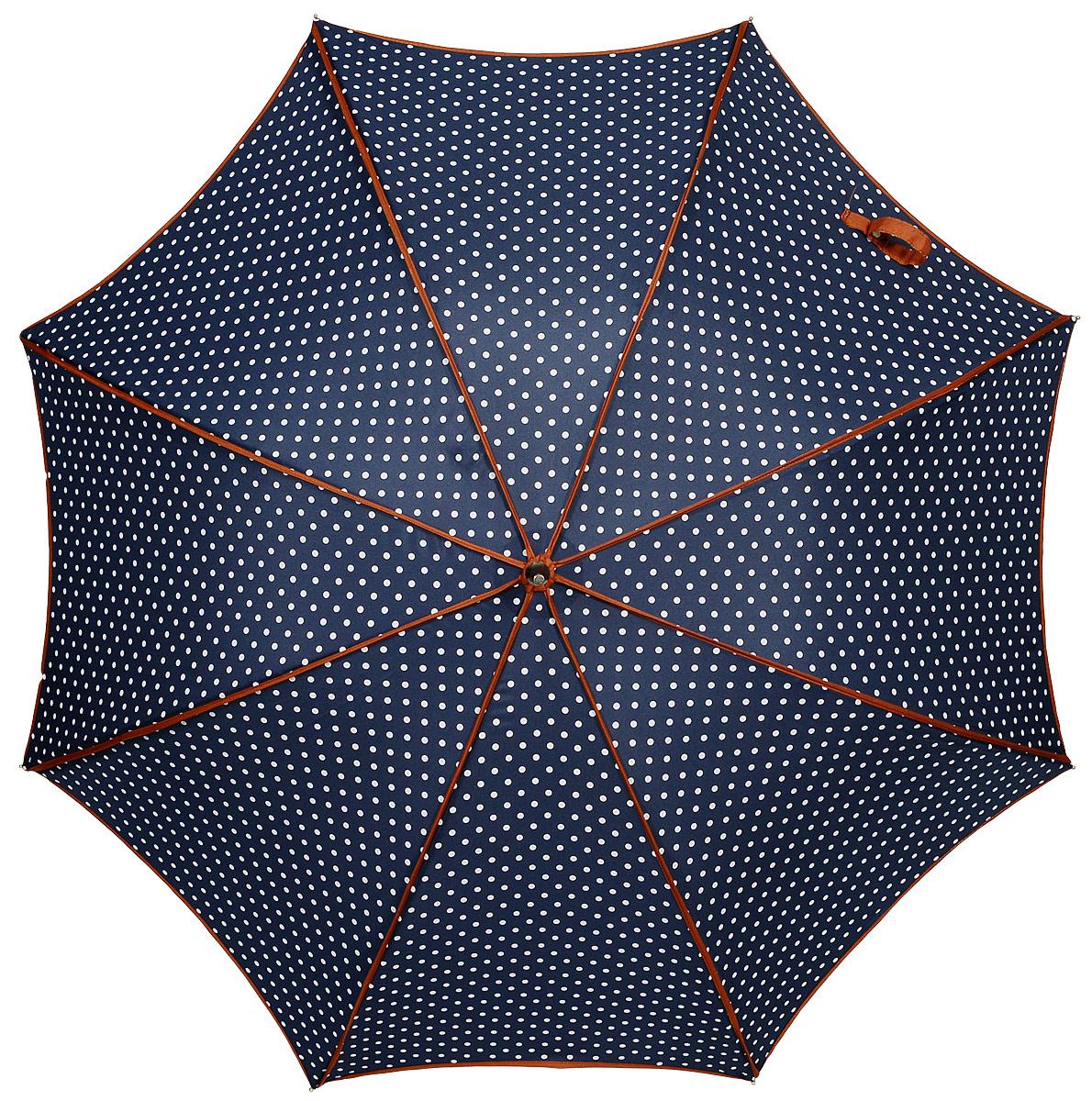 Зонт женский Kawaii Factory Кокетка, цвет: темно-синий. KW042-000110KW042-000110Стильный механический зонт Kawaii Factory Кокетка даже в ненастную погоду позволит вам оставаться стильной и элегантной. Каркас зонта из металла состоит из восьми спиц, оснащен удобной рукояткой. Купол зонта выполнен из прочного полиэстера. Закрытый купол фиксируется хлястиком на кнопке.