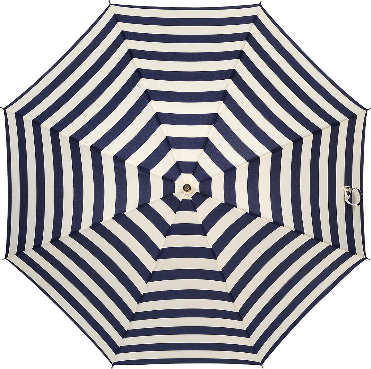 Зонт женский Kawaii Factory Sea-Stripes, цвет: темно-синий, молочный. KW042-000159KW042-000159Элегантный зонт-трость от Kawaii Factory Sea-Stripes оформлен интересным принтом в полоску. Зонт состоит из стержня и 8 спиц, изготовленных из металла. Купол изготовлен из полиэстера, который надежно защитит вас от дождя. Зонт дополнен удобной ручкой, которая выполнена в виде крючка. Также зонт имеет наконечник, который устраняет попадание воды на стержень и уберегает зонт от повреждений. Изделие имеет механический механизм сложения.