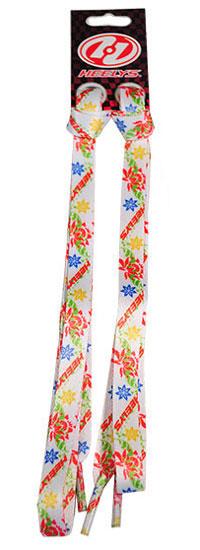 Шнурки Flowers/Флауэз, цвет: белый, оранжевый, голубой, с разноцветными цветами, 90 см
