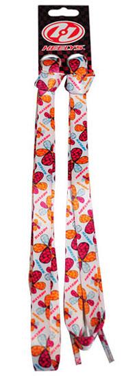 Шнурки Flowers/Флауэз, цвет: белый, оранженвый, красный, с разноцветными цветами, 90 см