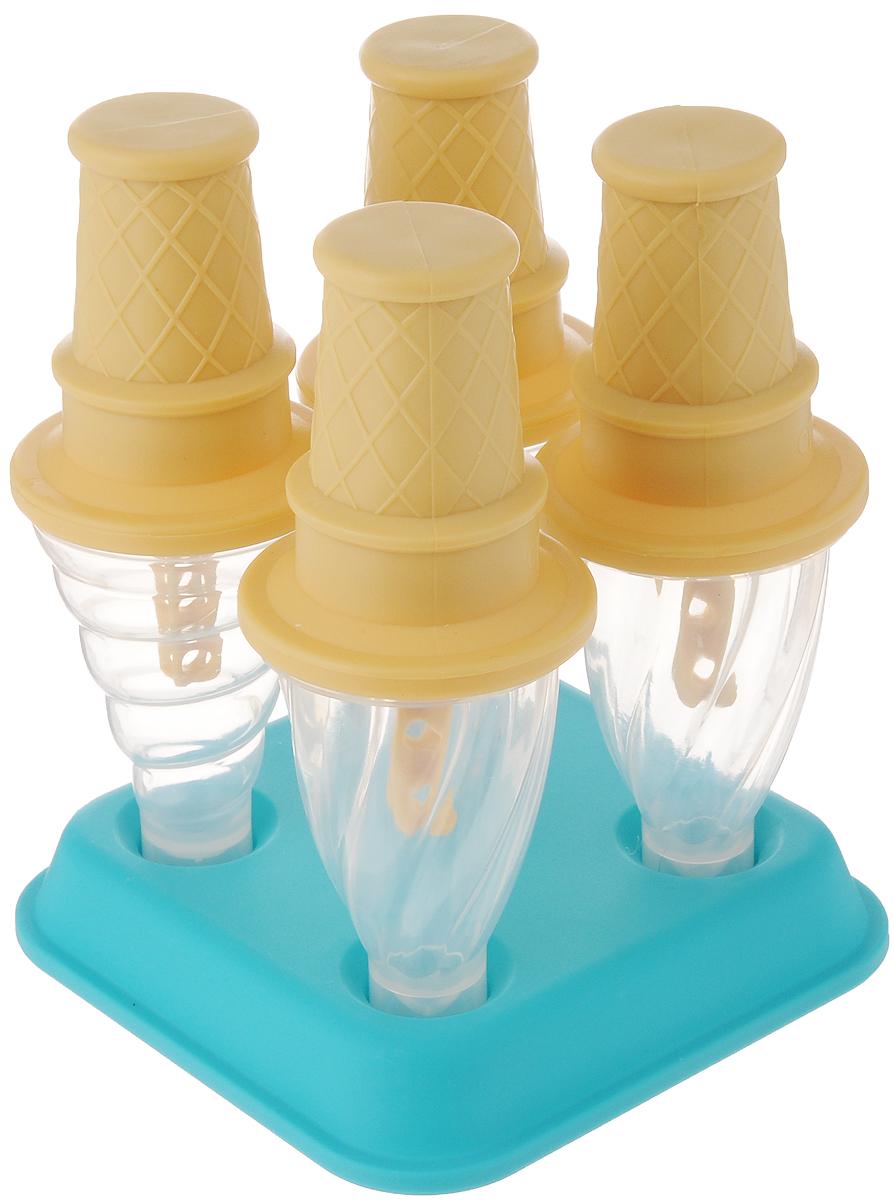 Набор форм для мороженного Tovolo, 4 шт80-5279PС помощью набора форм для мороженного Tovolo вы удивите себя и ваших детей любимым лакомством. Забудьте о проблемах с подтеками и каплями, ведь эти стаканчики защитят от них. Залейте в прозрачную форму любимое мороженое, йогурт, или другой наполнитель, наверните стаканчик сверху, закрепите в подставке и отправляйте в морозилку. База помогает защитить от протечек и разливов в морозилке. Набор включает 4 формочки для мороженого и подставку.