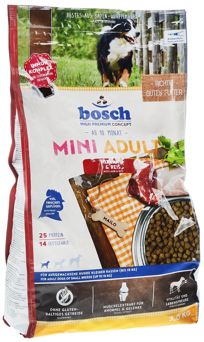 Корм сухой Bosch Mini Adult для взрослых собак мелких пород, ягненок с рисом, 3 кг50590_собаки/мелкие породыСухой корм Bosch Mini Adult предназначен для полнорационного ежедневного питания взрослых собак, но маленьких пород (вес взрослой собаки до 15 кг). Данный корм содержит только натуральные продукты, такие как высококачественное мясо ягненка, рис, пшеницу, цельное яйцо. Пропорция жира и протеина рассчитана специально для собак мелких пород, так как они более активны и тратят больше энергии. Данный корм Bosch Mini Adult изготовлен из мяса ягненка, которое обладает очень низким аллергенным потенциалом, и поэтому подходит для собак склонных к аллергии, а также с чувствительной кожей и шестью. Корм имеет высокие вкусовые показатели, поэтому подойдет даже очень избирательным собакам. Товар сертифицирован.